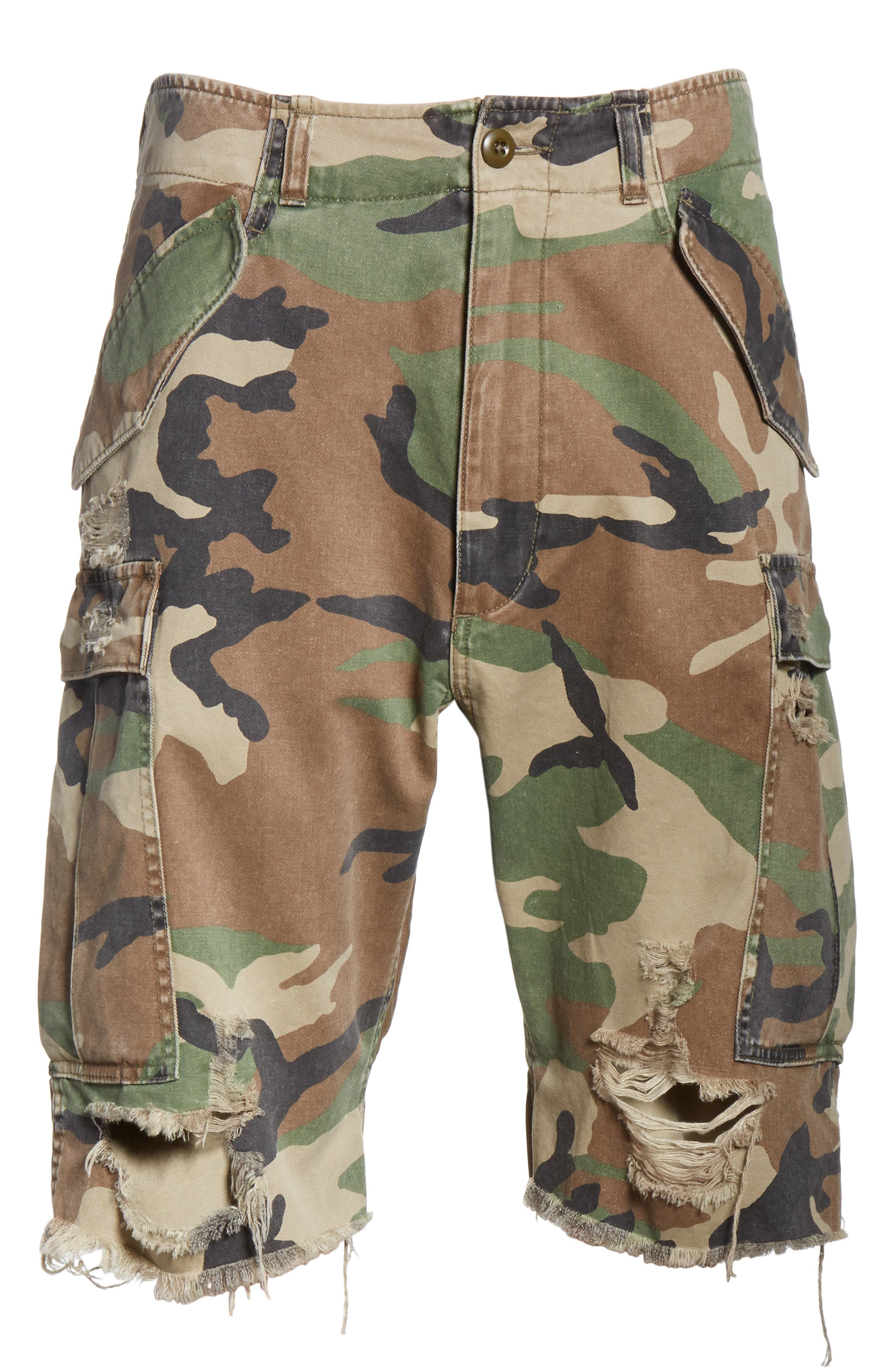 Surplus Shredded Camo Cargo Shorts,                             Alternate thumbnail 6, color,                             Camo