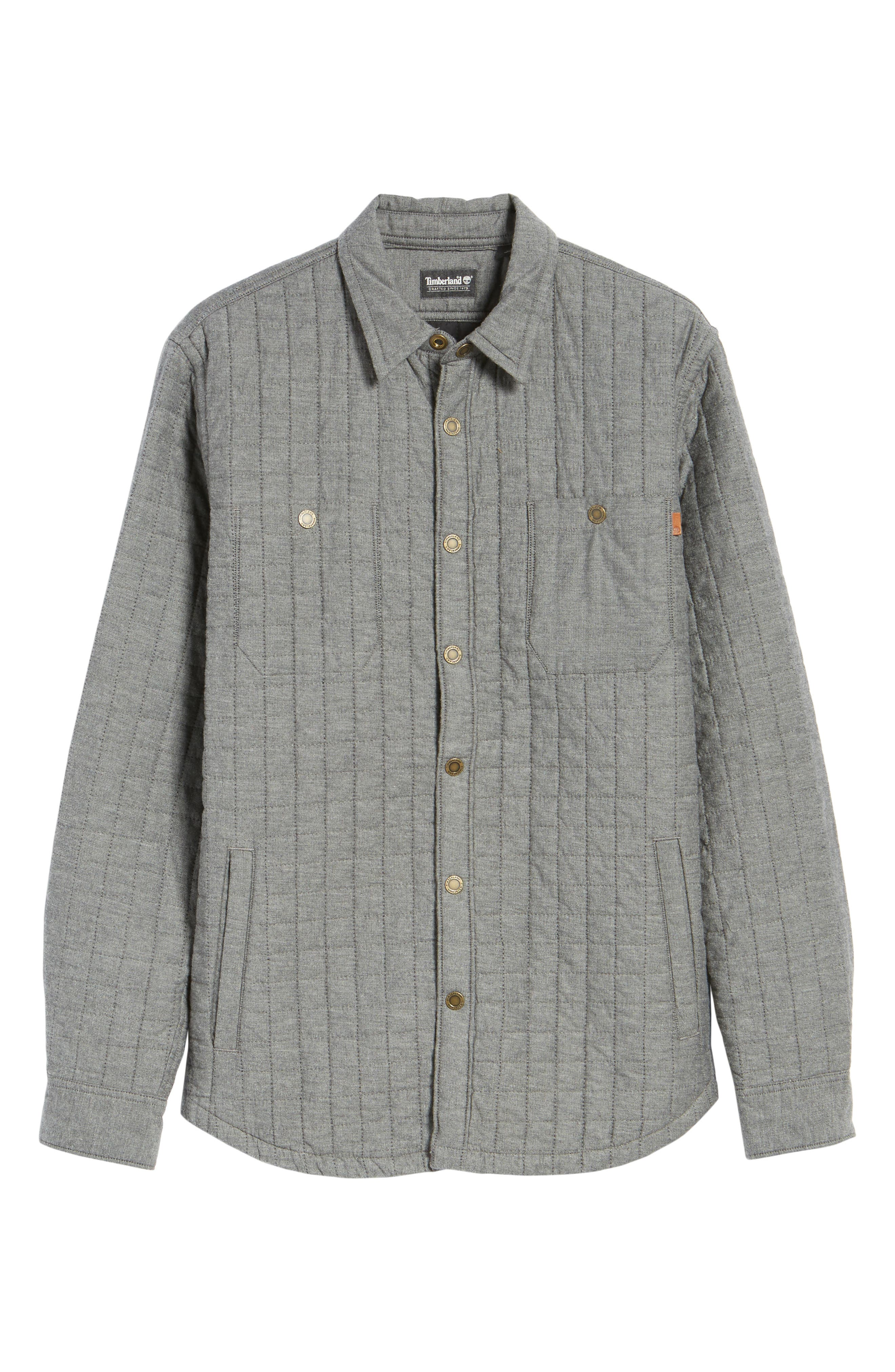 Gunstock River Lightweight Quilted Shirt Jacket,                             Alternate thumbnail 6, color,                             Grey