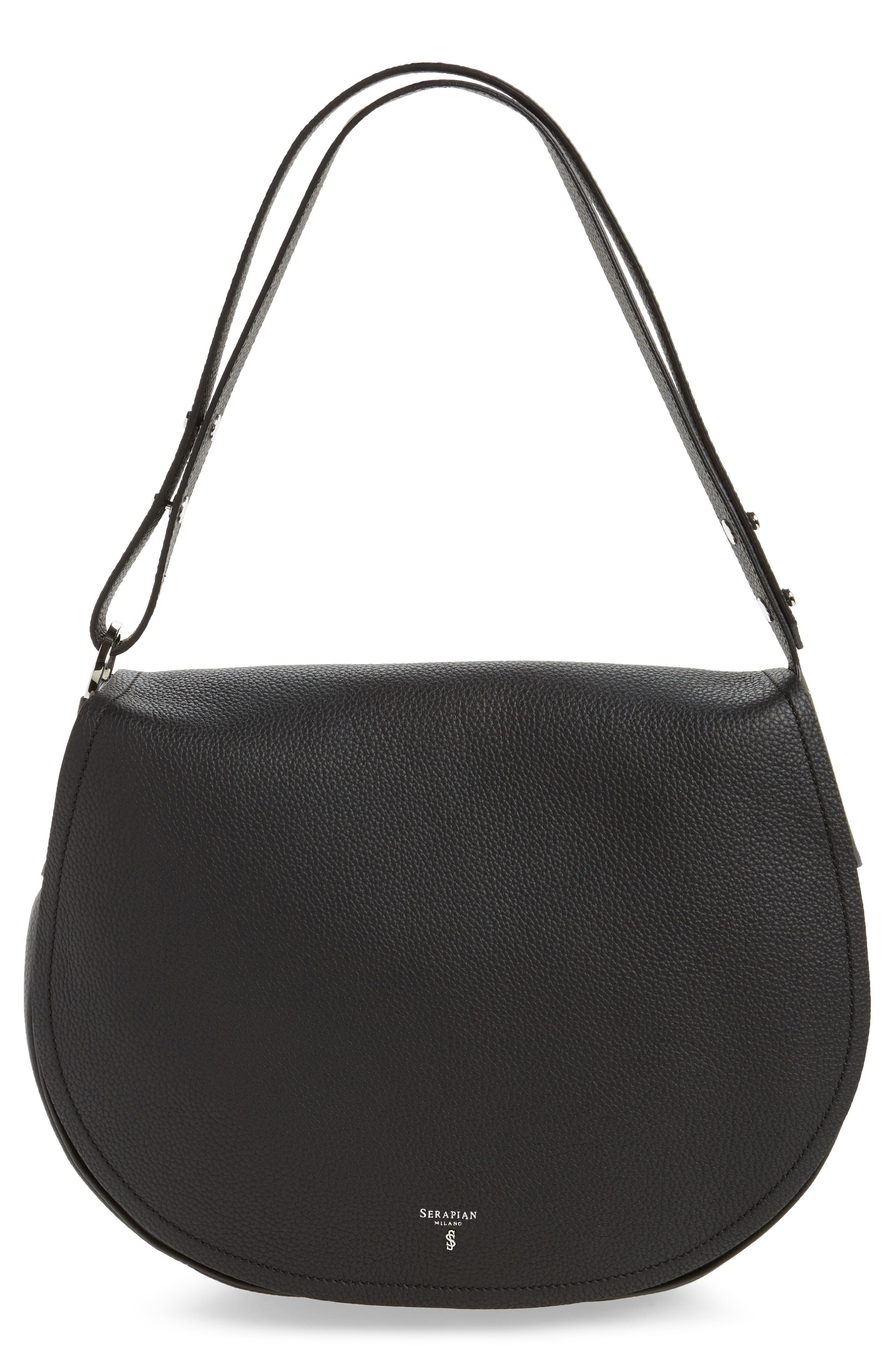 Serapian Milano Valeria Cachemire Leather Saddle Bag