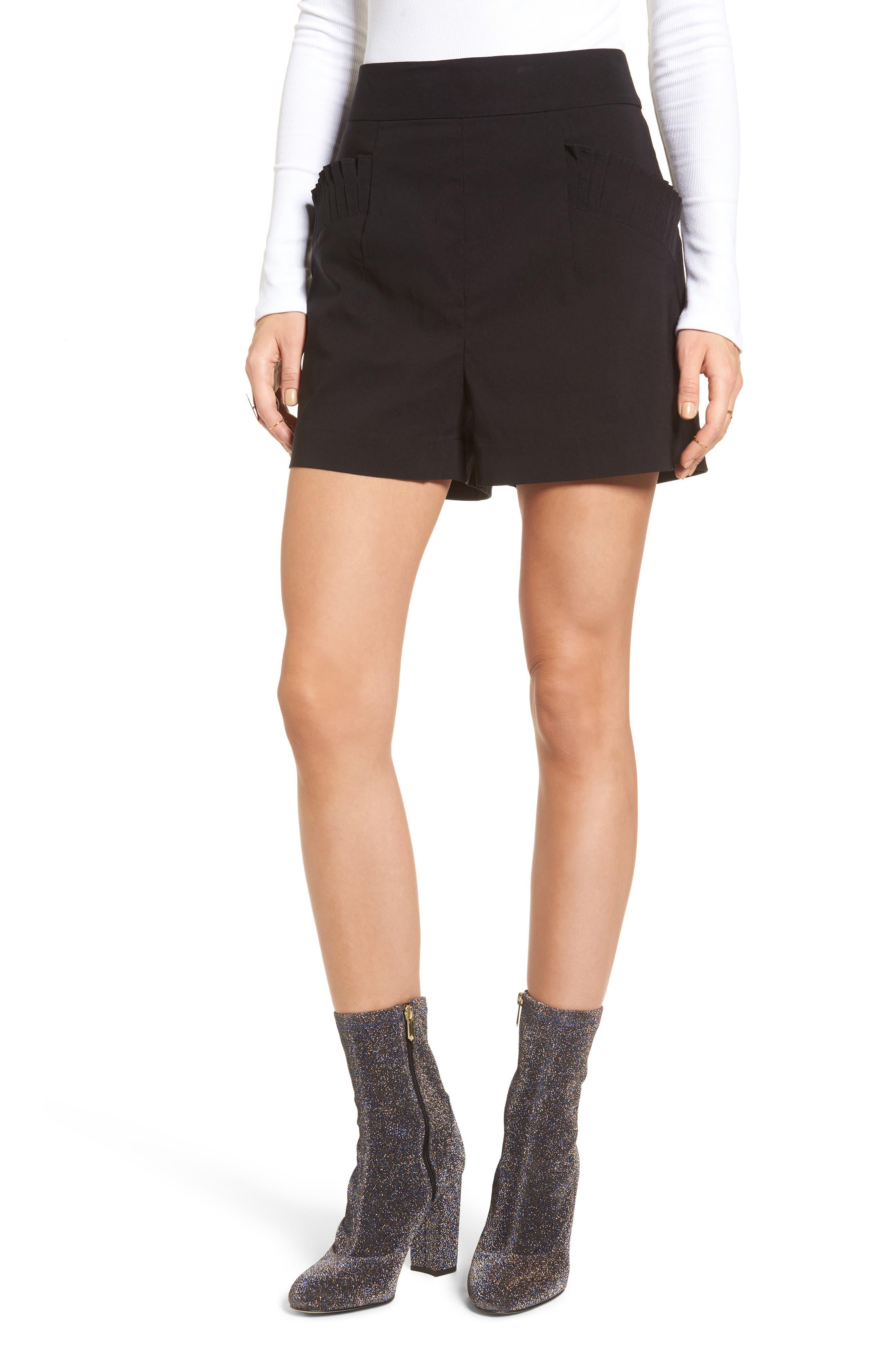 Pleat Trim High Waist Shorts,                             Main thumbnail 1, color,                             Black