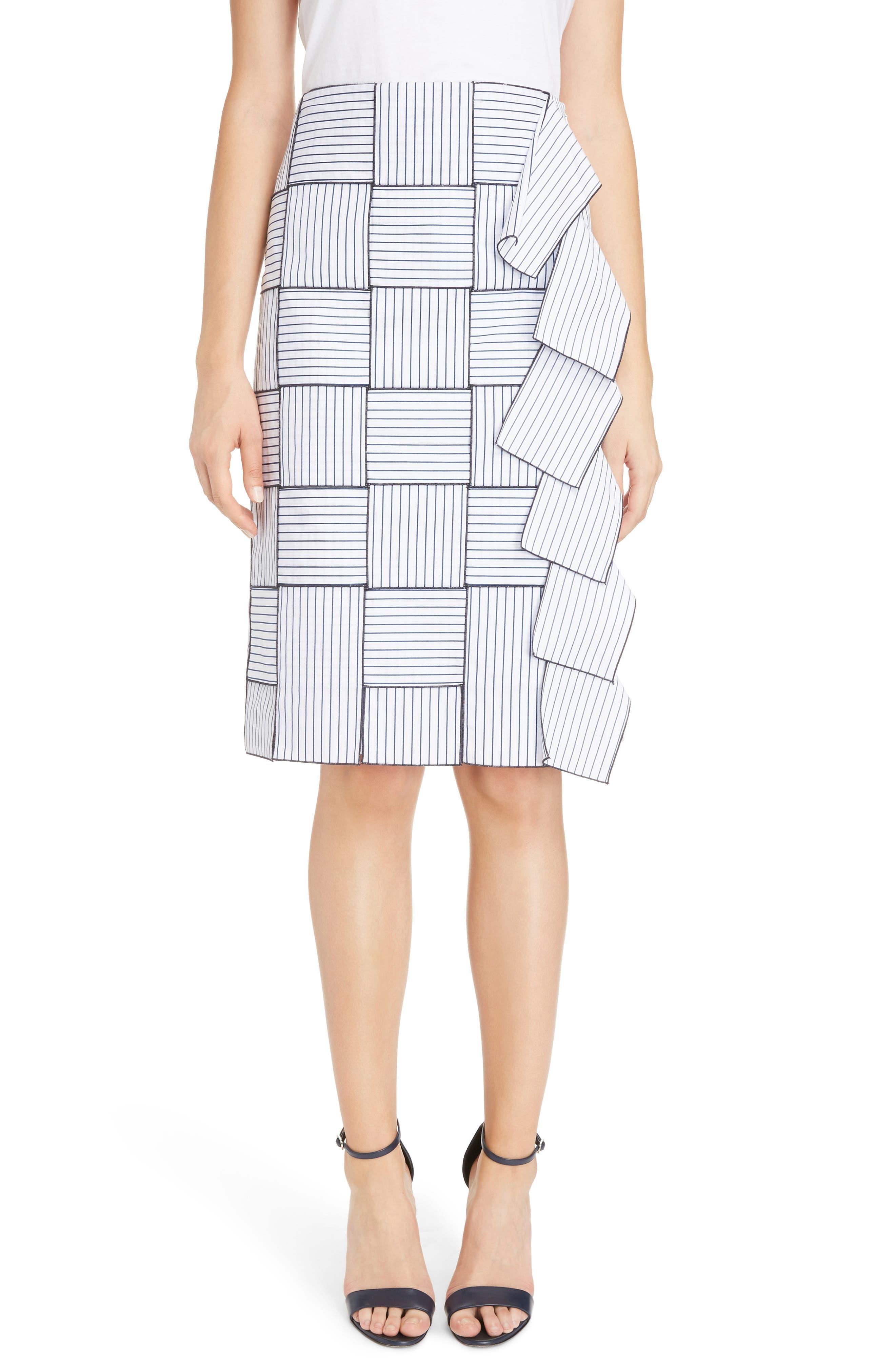 Basket-Weave Pencil Skirt,                         Main,                         color, White/ Navy