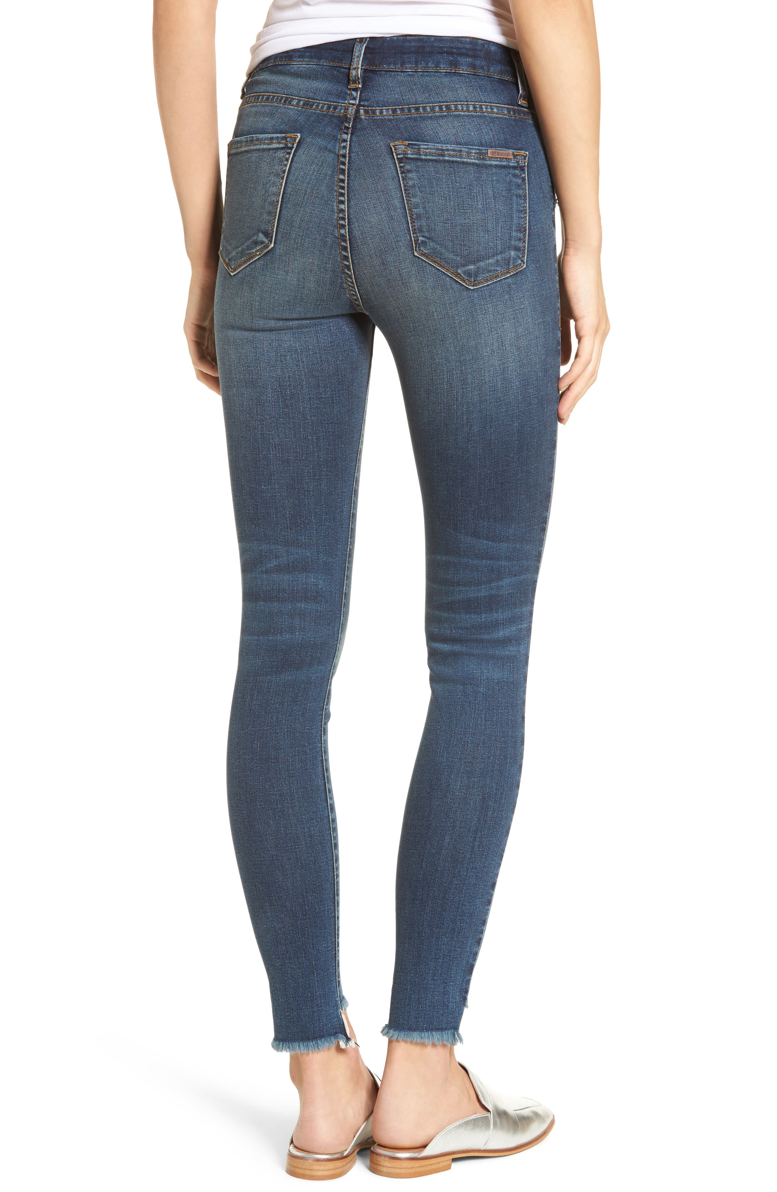Elli Distressed Step Hem Skinny Jeans,                             Alternate thumbnail 2, color,                             Yukon