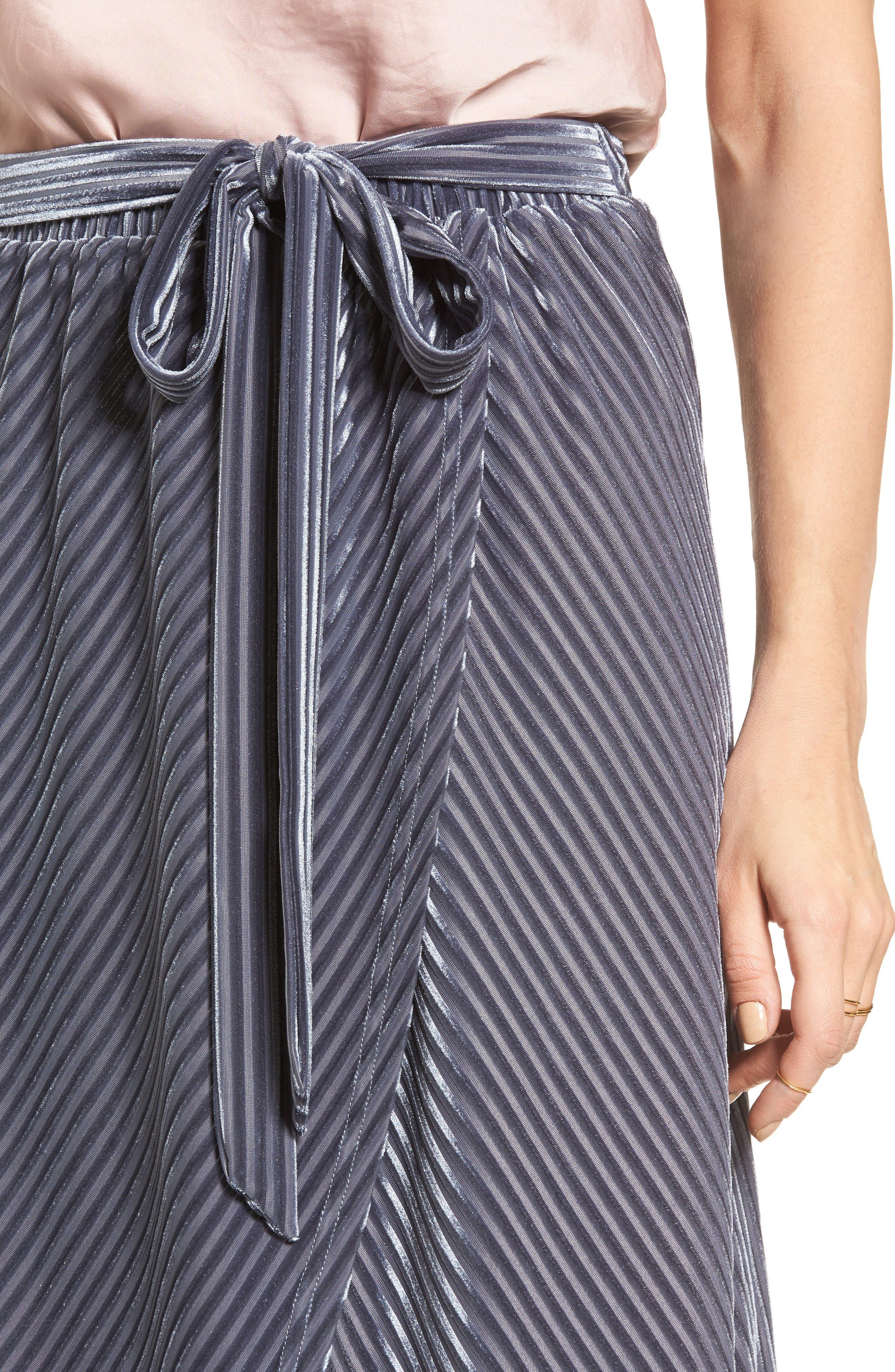 Velvet Wrap Skirt,                             Alternate thumbnail 4, color,                             Slate