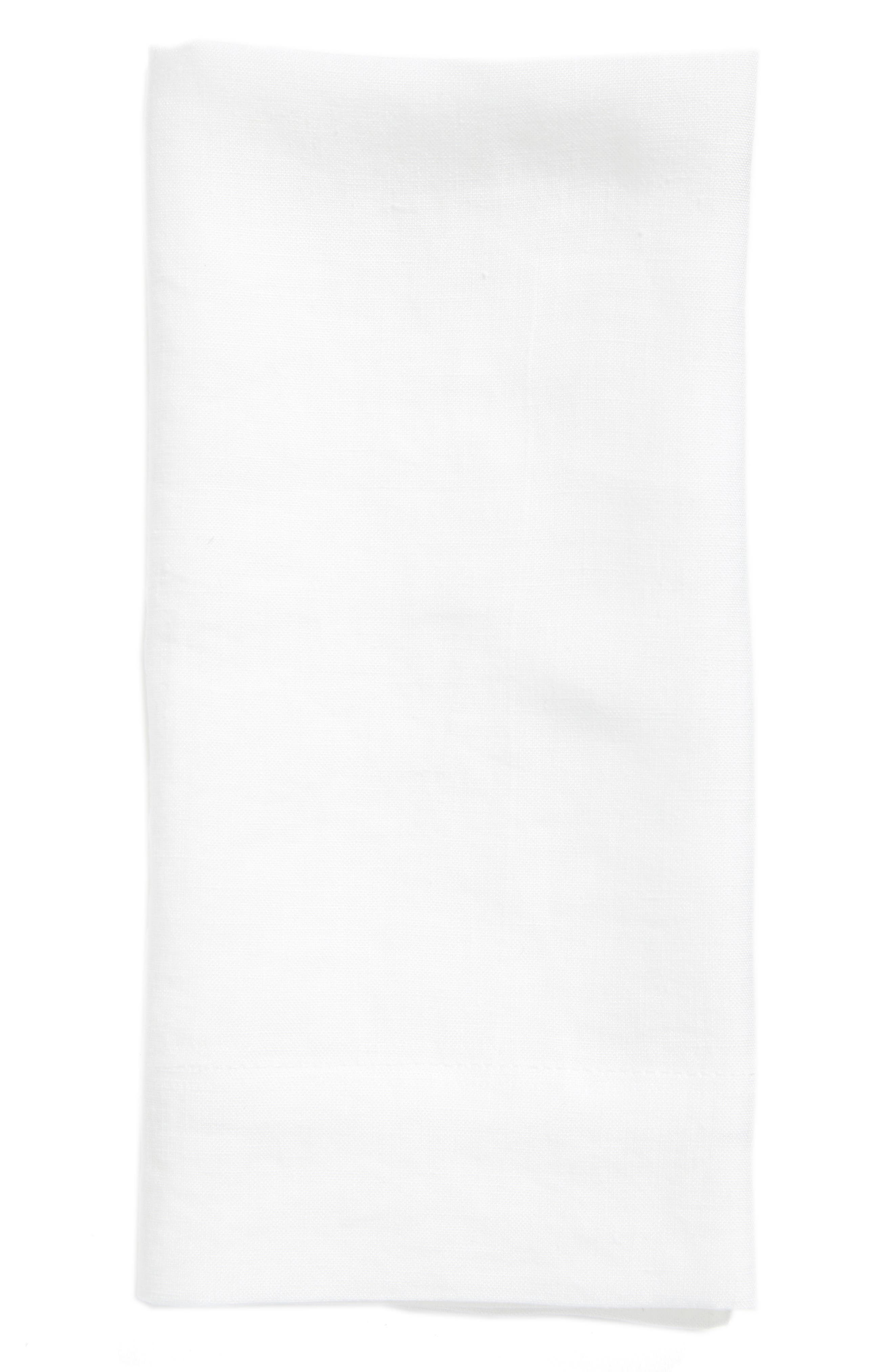 Washed Linen Napkin,                             Main thumbnail 1, color,                             White