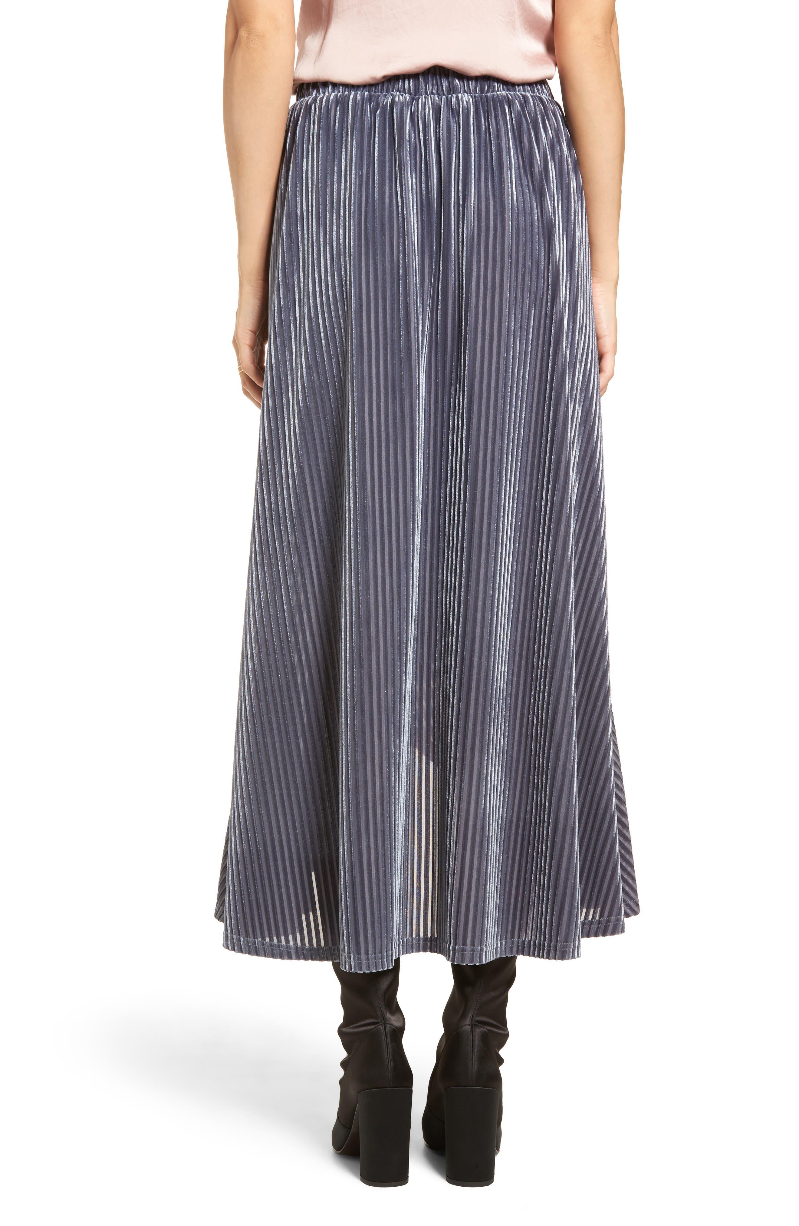 Velvet Wrap Skirt,                             Alternate thumbnail 2, color,                             Slate