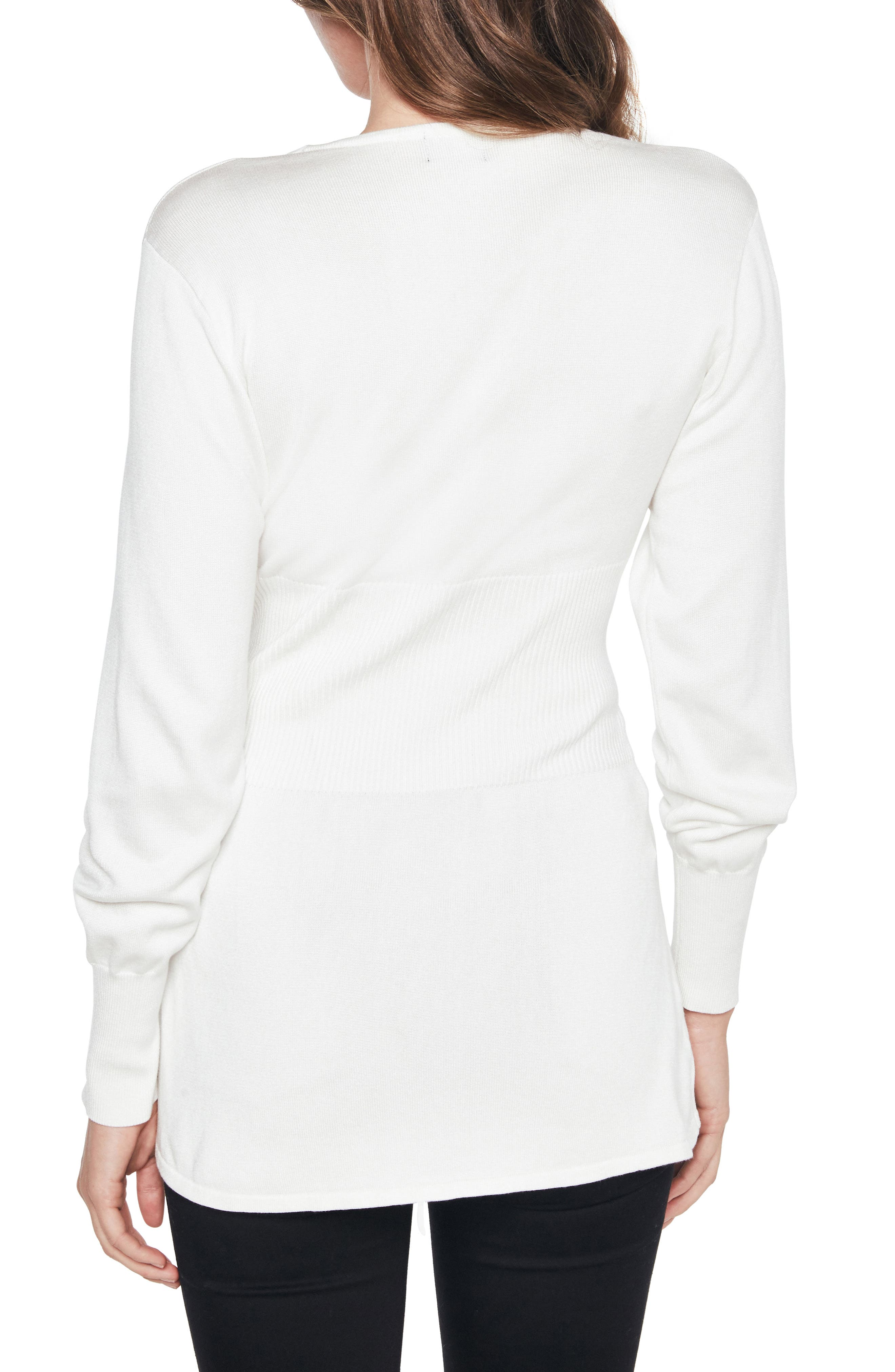 Corset Tie Knit Sweater,                             Alternate thumbnail 2, color,                             Ivory