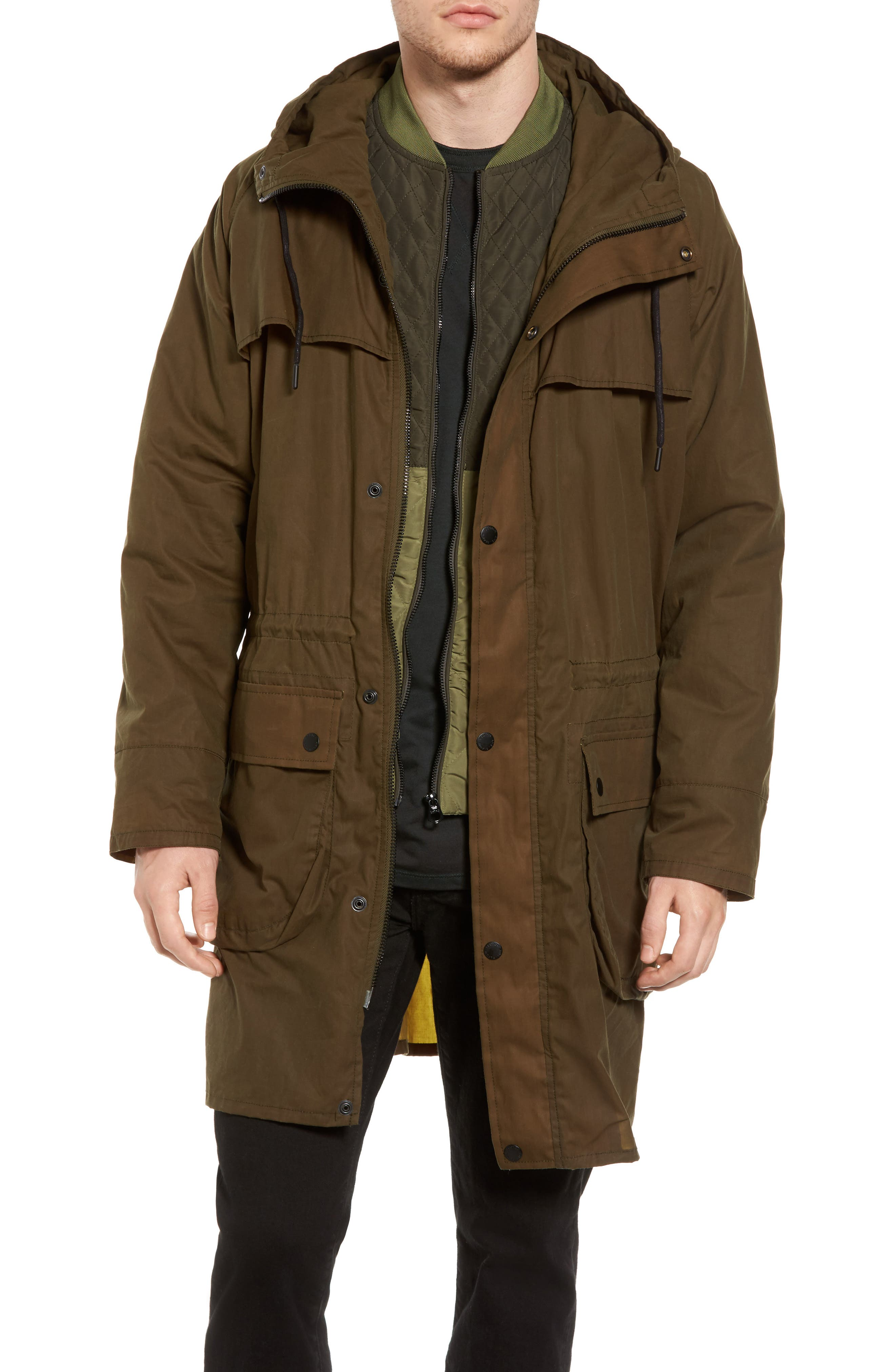 Double Layer Parker,                         Main,                         color, Military Green