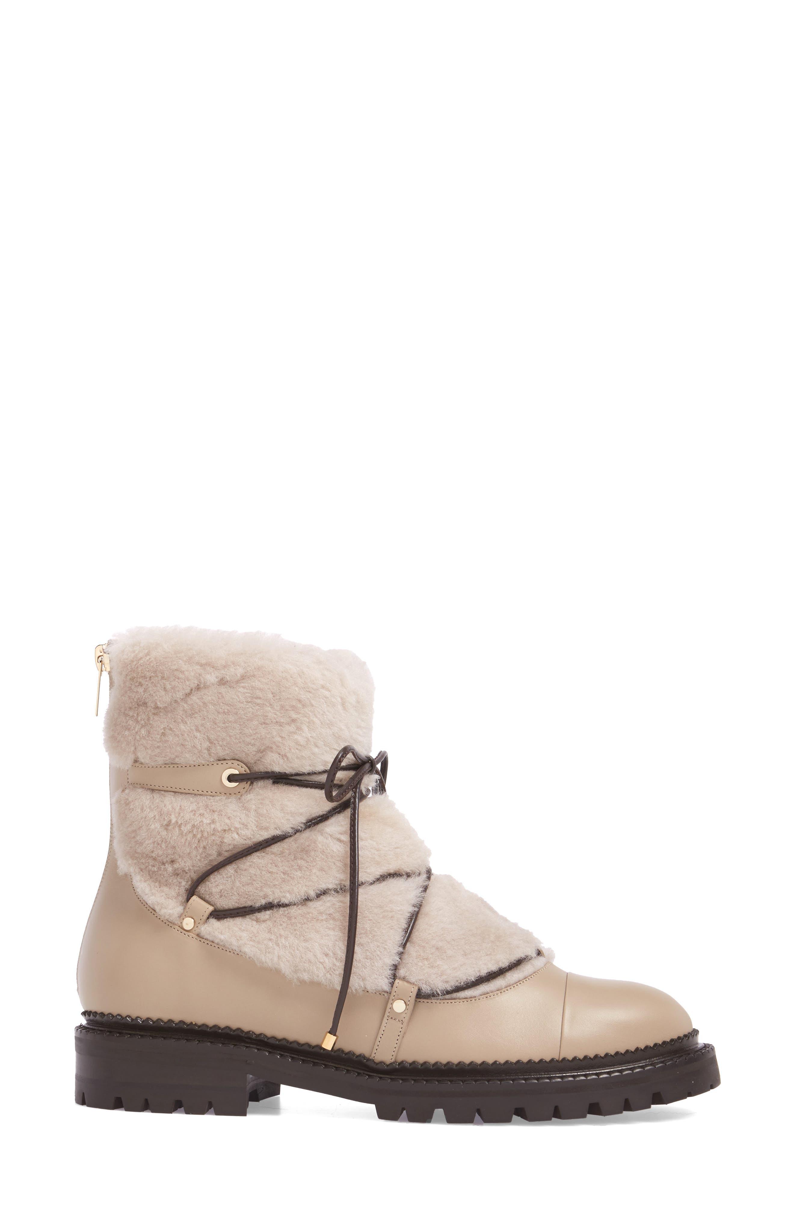 Darcie Genuine Shearling Boot,                             Alternate thumbnail 3, color,                             Chai