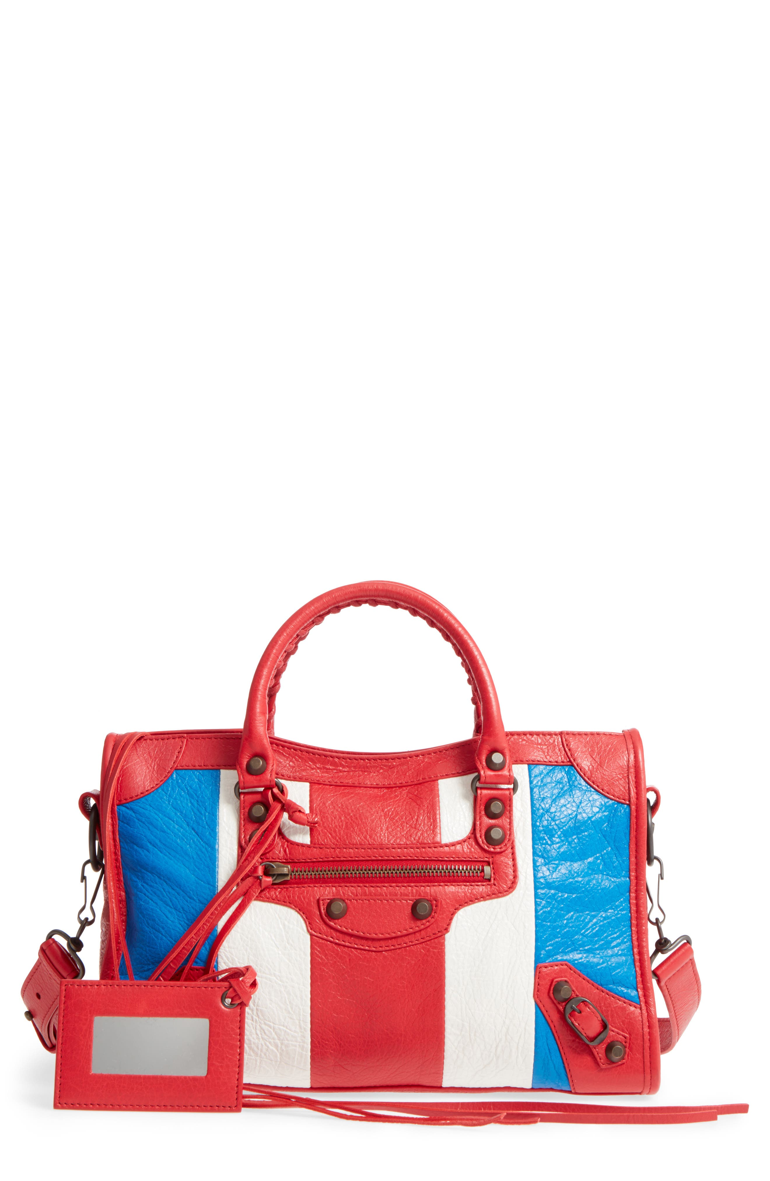 Small Classic City Leather Tote,                             Main thumbnail 1, color,                             Blue/ Blanc/ Rouge