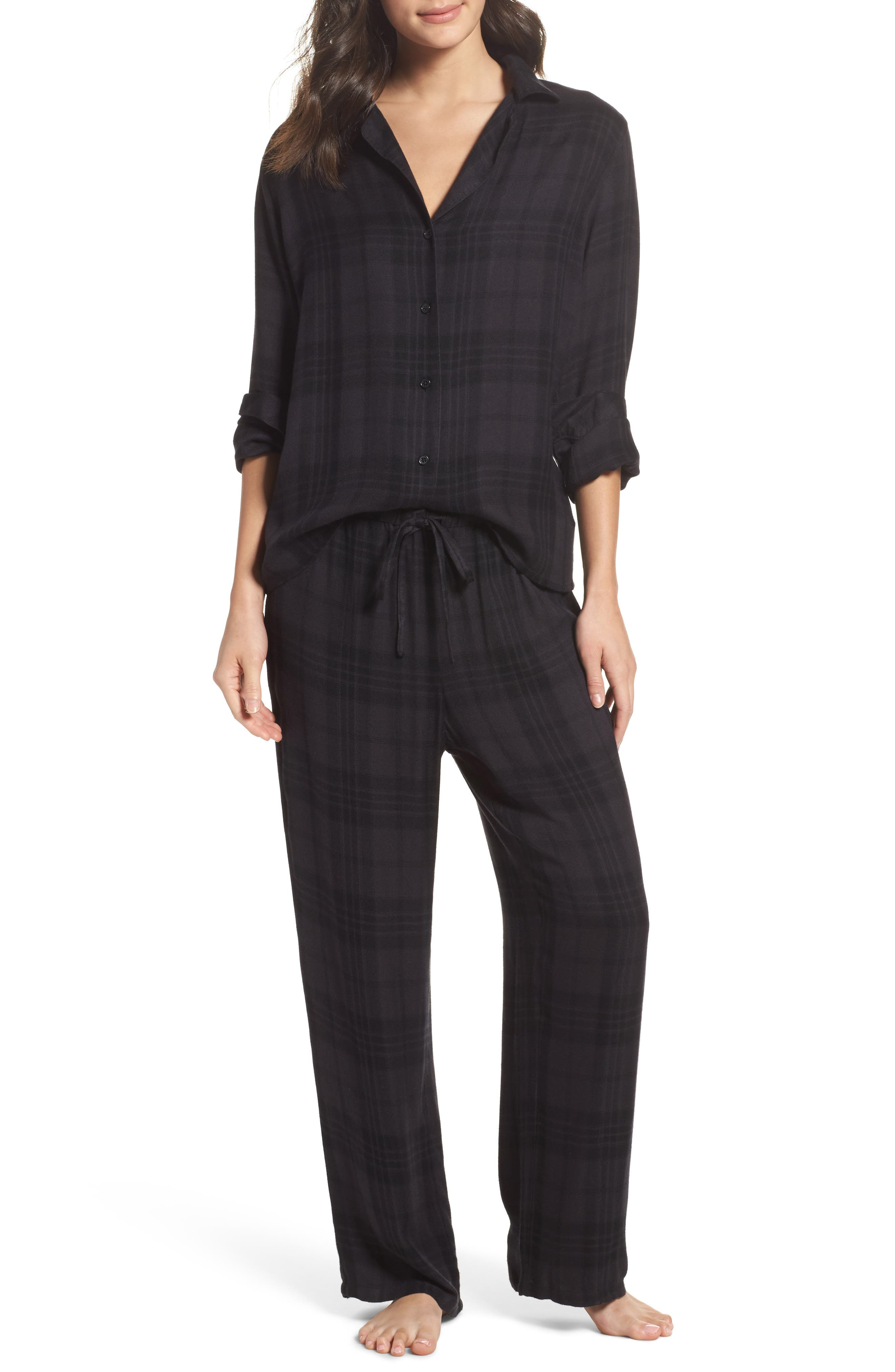 Plaid Pajamas,                             Main thumbnail 1, color,                             Onyx/ Jet