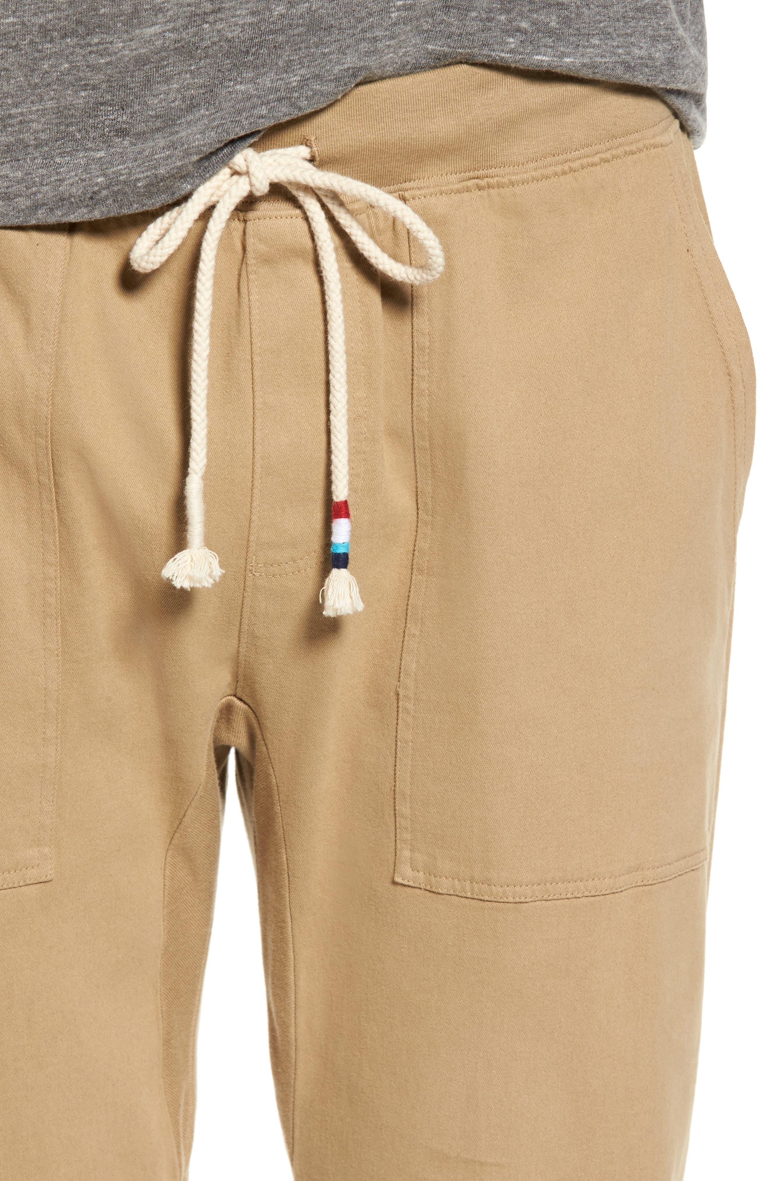 Essential Twill Jogger Pants,                             Alternate thumbnail 4, color,                             Khaki