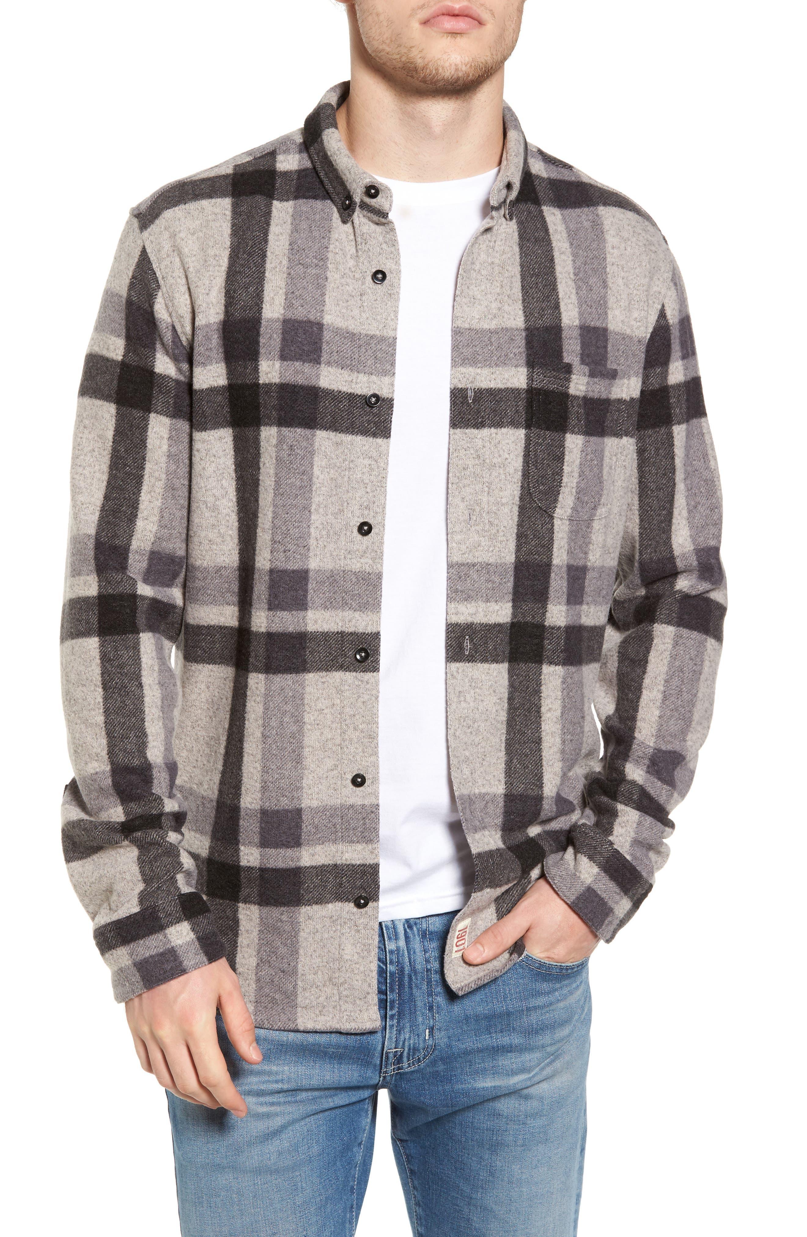 Plaid Shirt,                         Main,                         color, Grey Charcoal Large Plaid