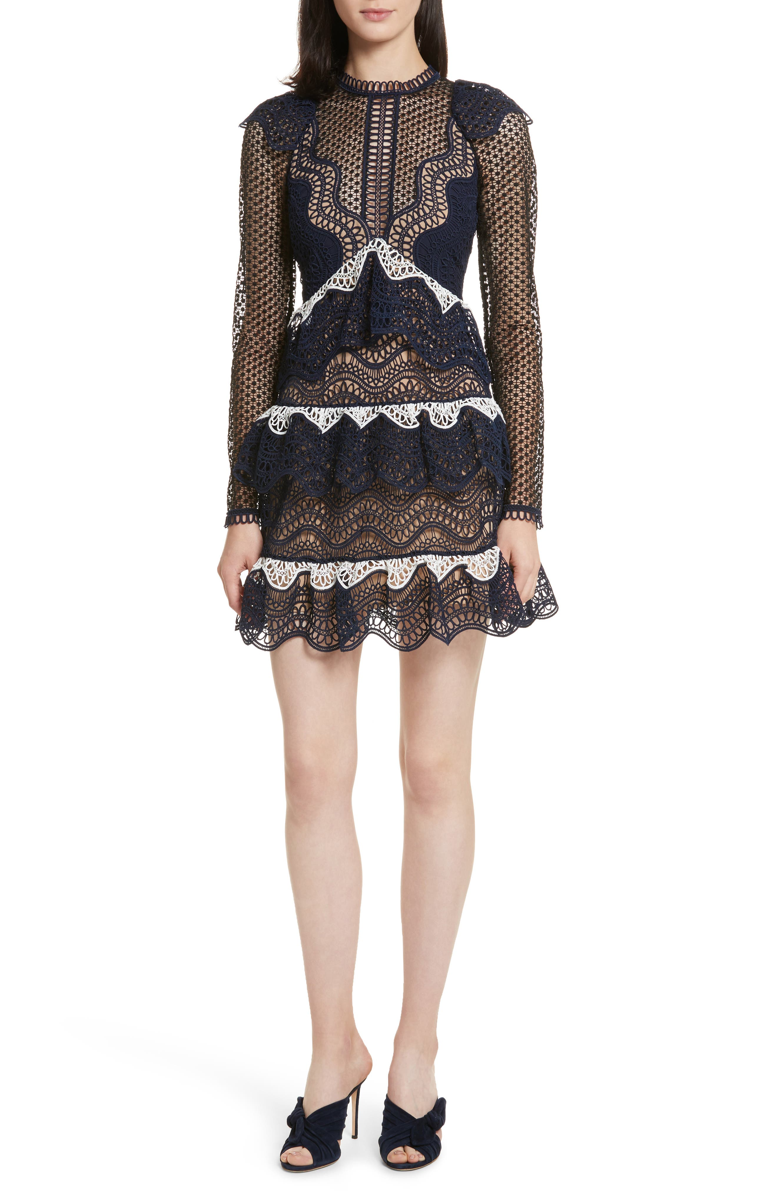 Ruffle Wave Guipure Lace Minidress,                         Main,                         color, Navy/ White