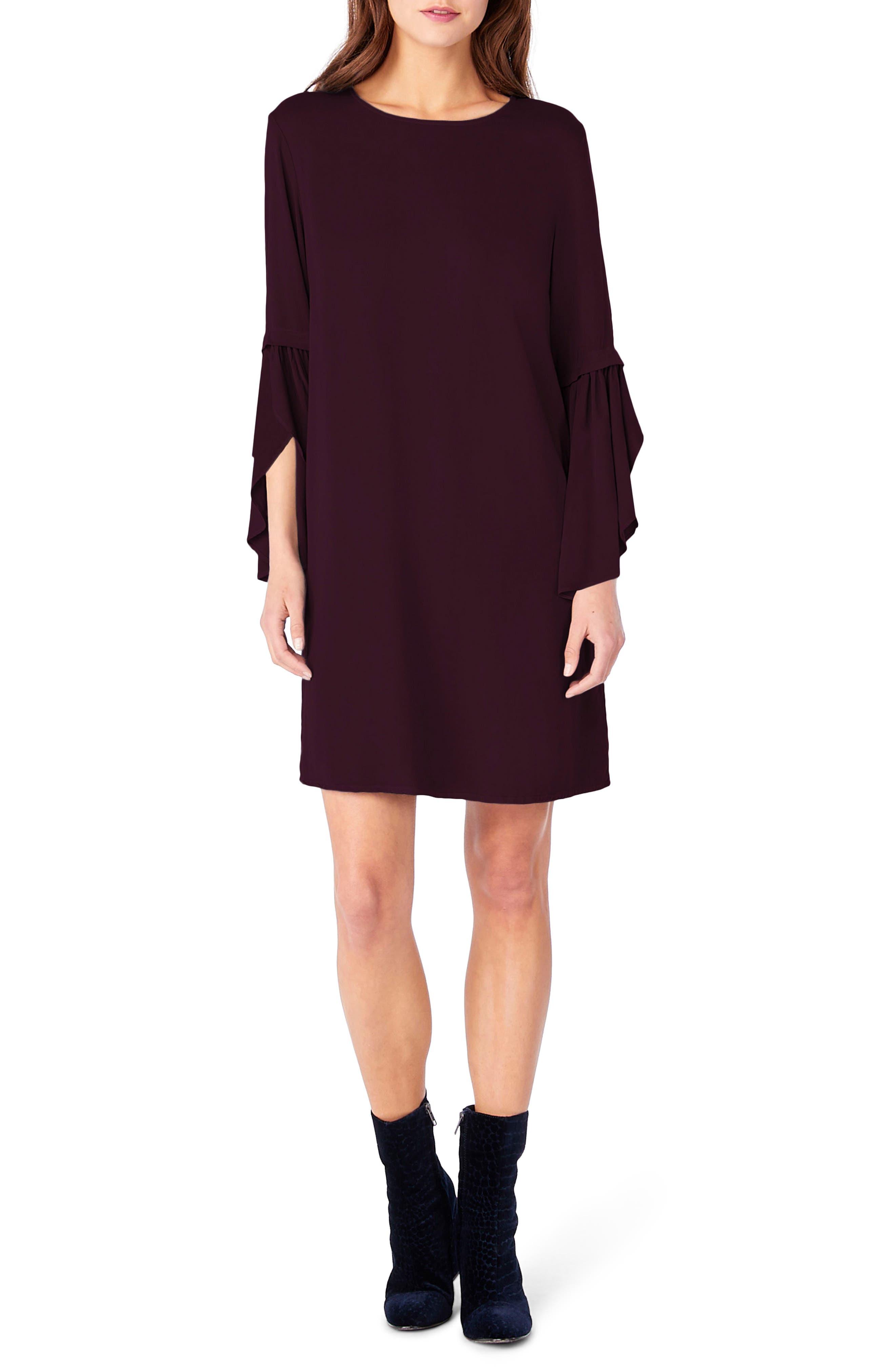 Bell Sleeve Shift Dress,                         Main,                         color, Rumba