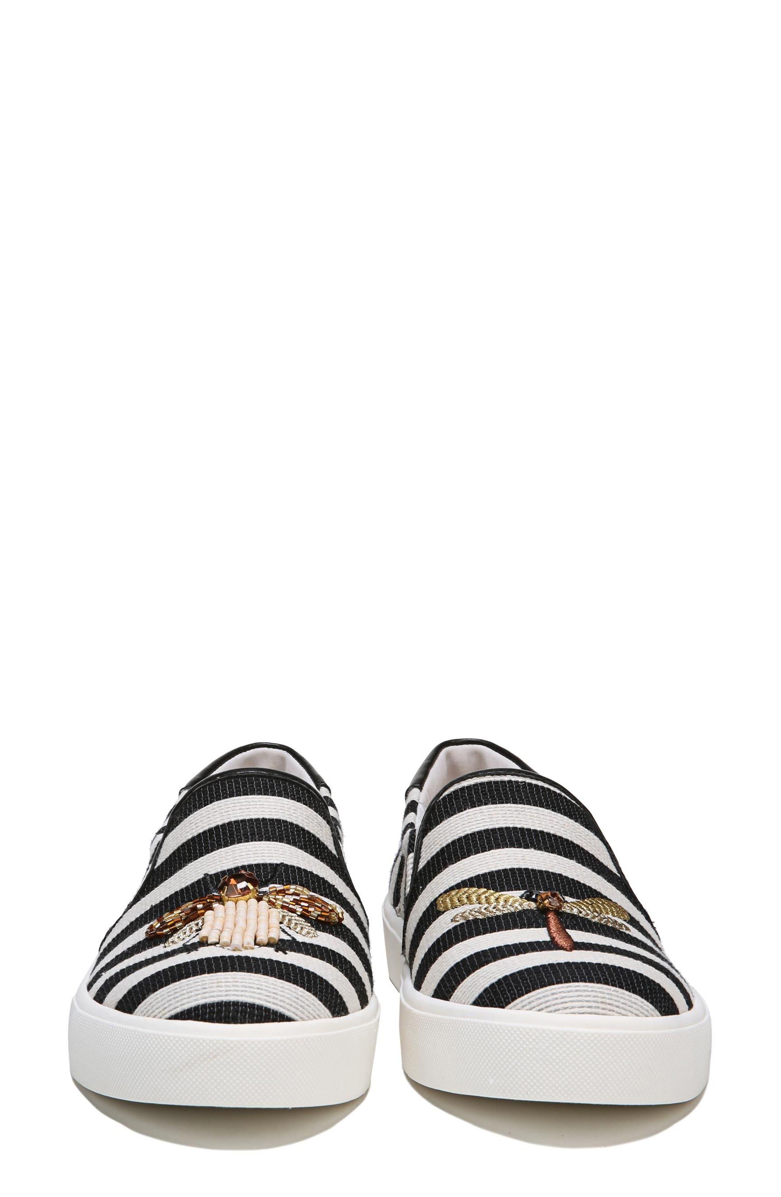 Evelina Slip-On,                             Alternate thumbnail 4, color,                             Black Stripe Nappa Leather