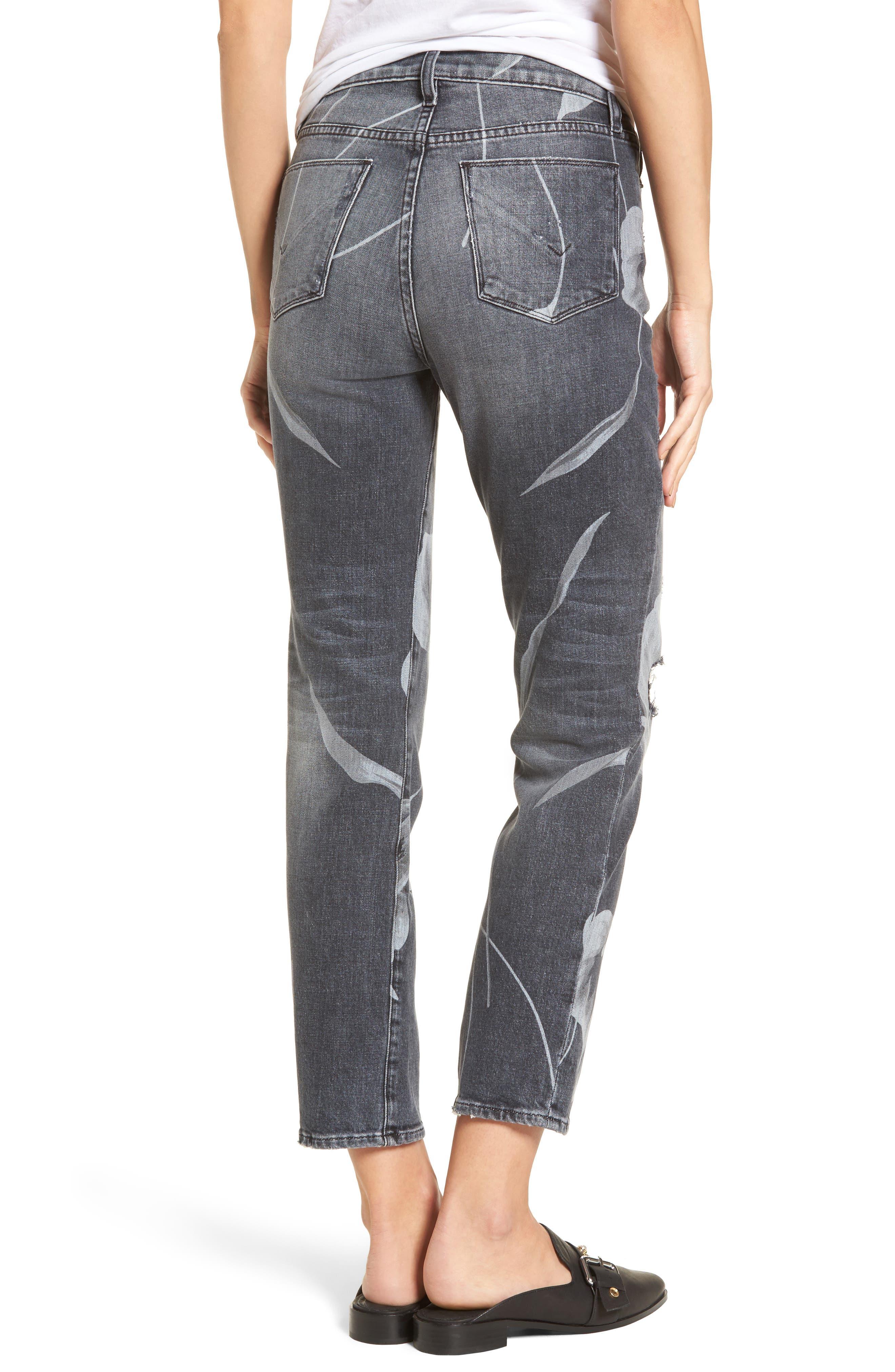 Zoeey High Waist Crop Straight Leg Jeans,                             Alternate thumbnail 2, color,                             Noir In Bloom