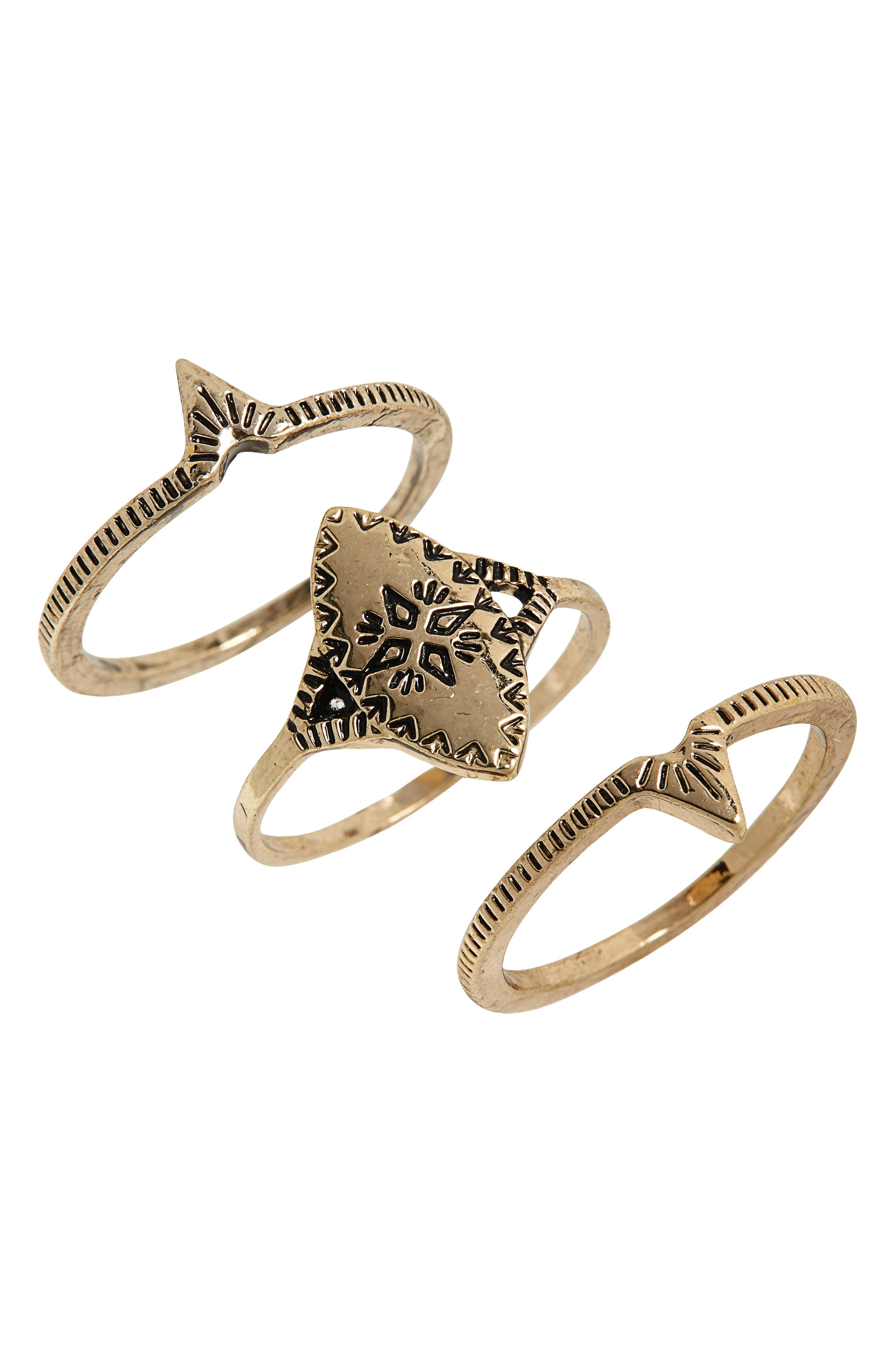 Set of 3 Rings,                         Main,                         color, Gold