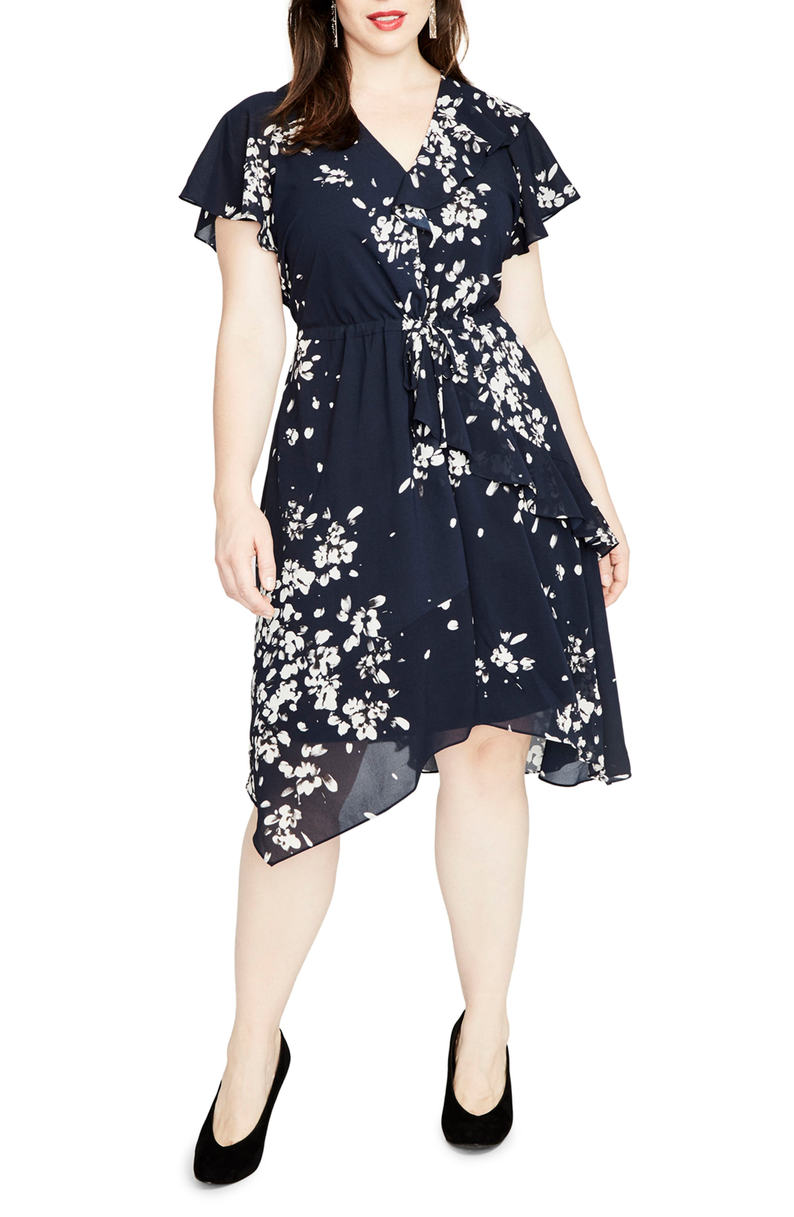 Ruffle Floral A-Line Dress,                             Main thumbnail 1, color,                             Navy Combo