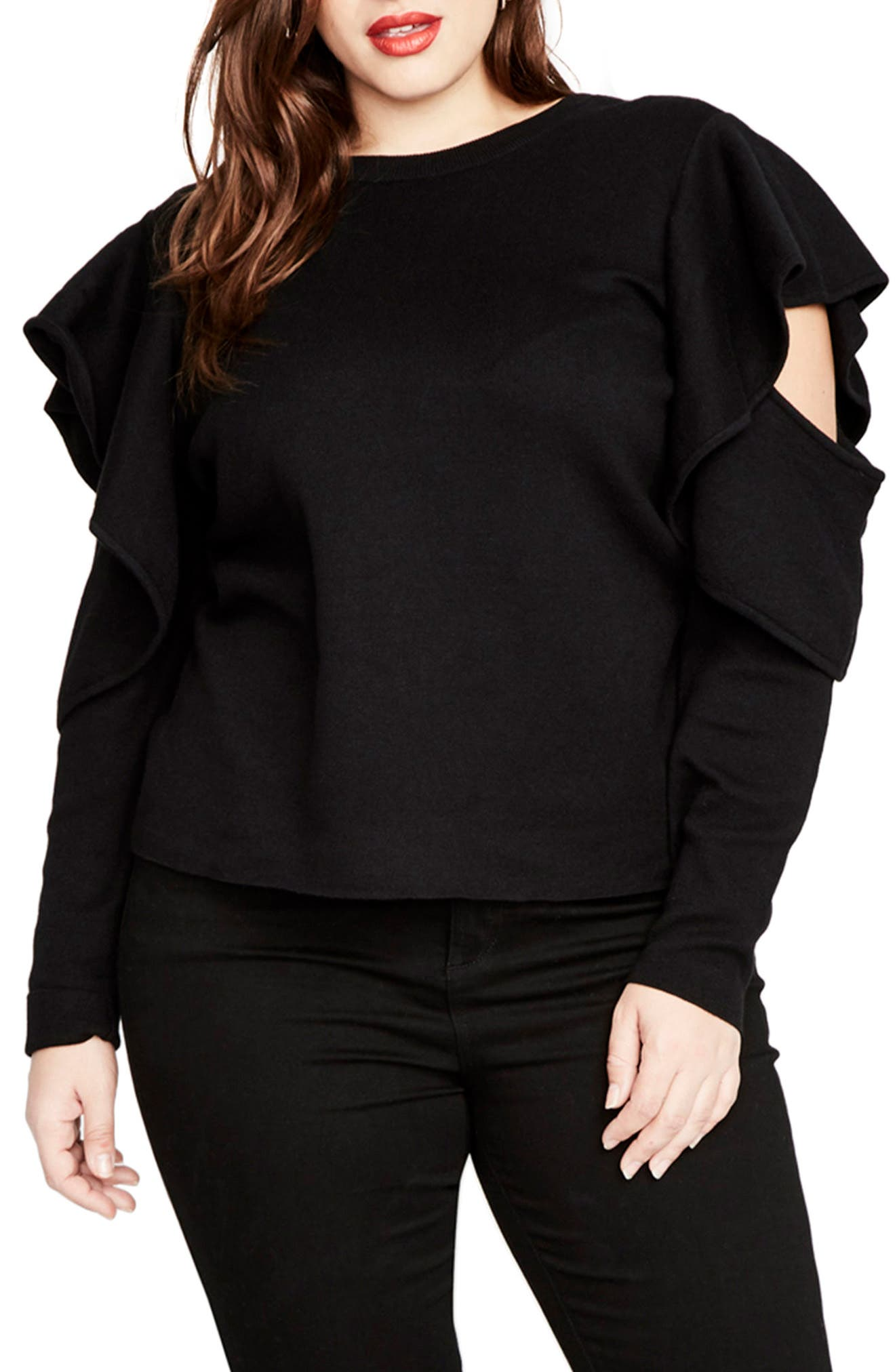 Ruffle Sleeve Sweater,                             Main thumbnail 1, color,                             Black