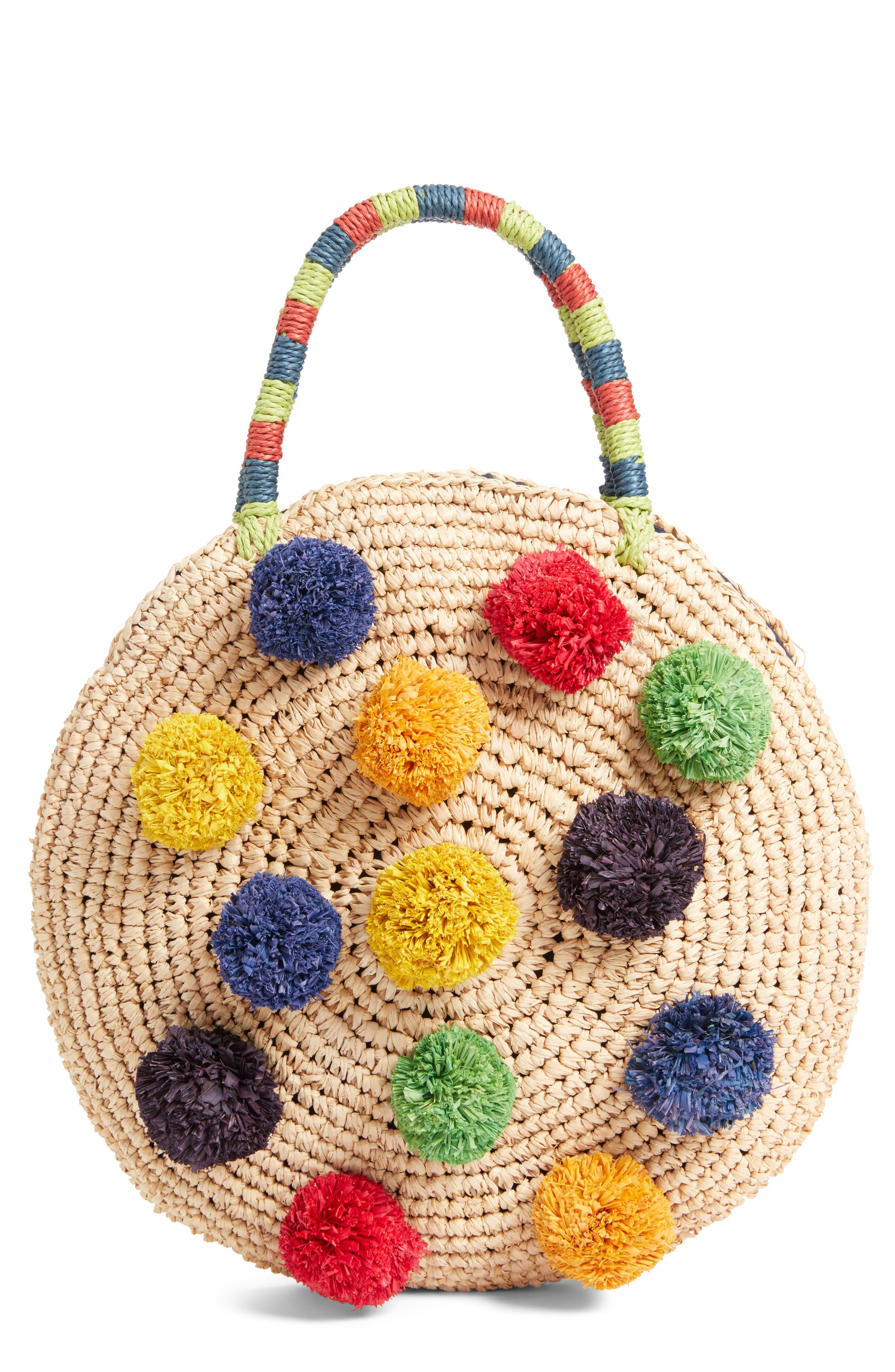 Multi Pom Circular Raffia Tote,                         Main,                         color, Natural