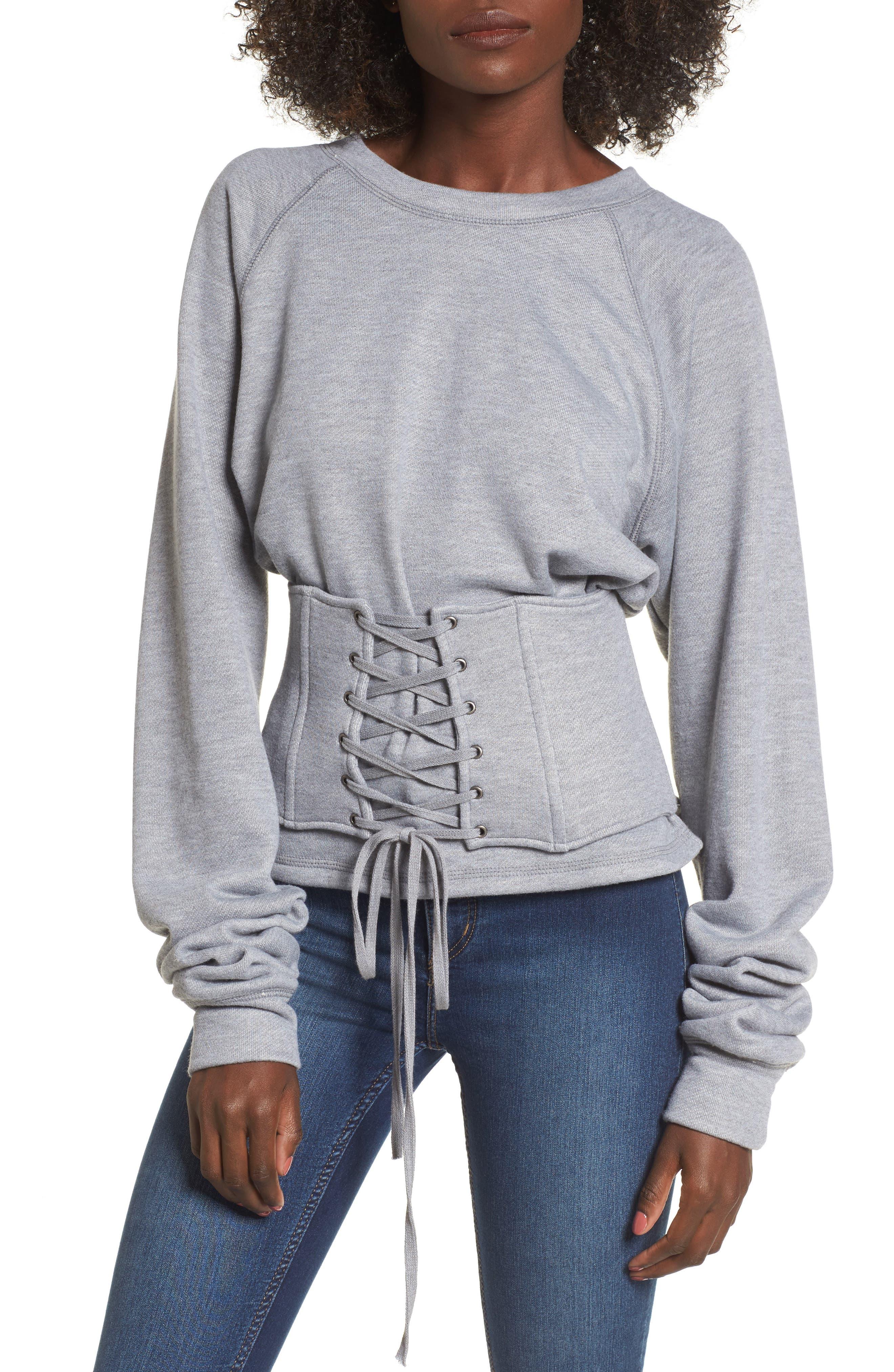 Mason Corset Sweatshirt,                         Main,                         color, Heather Grey