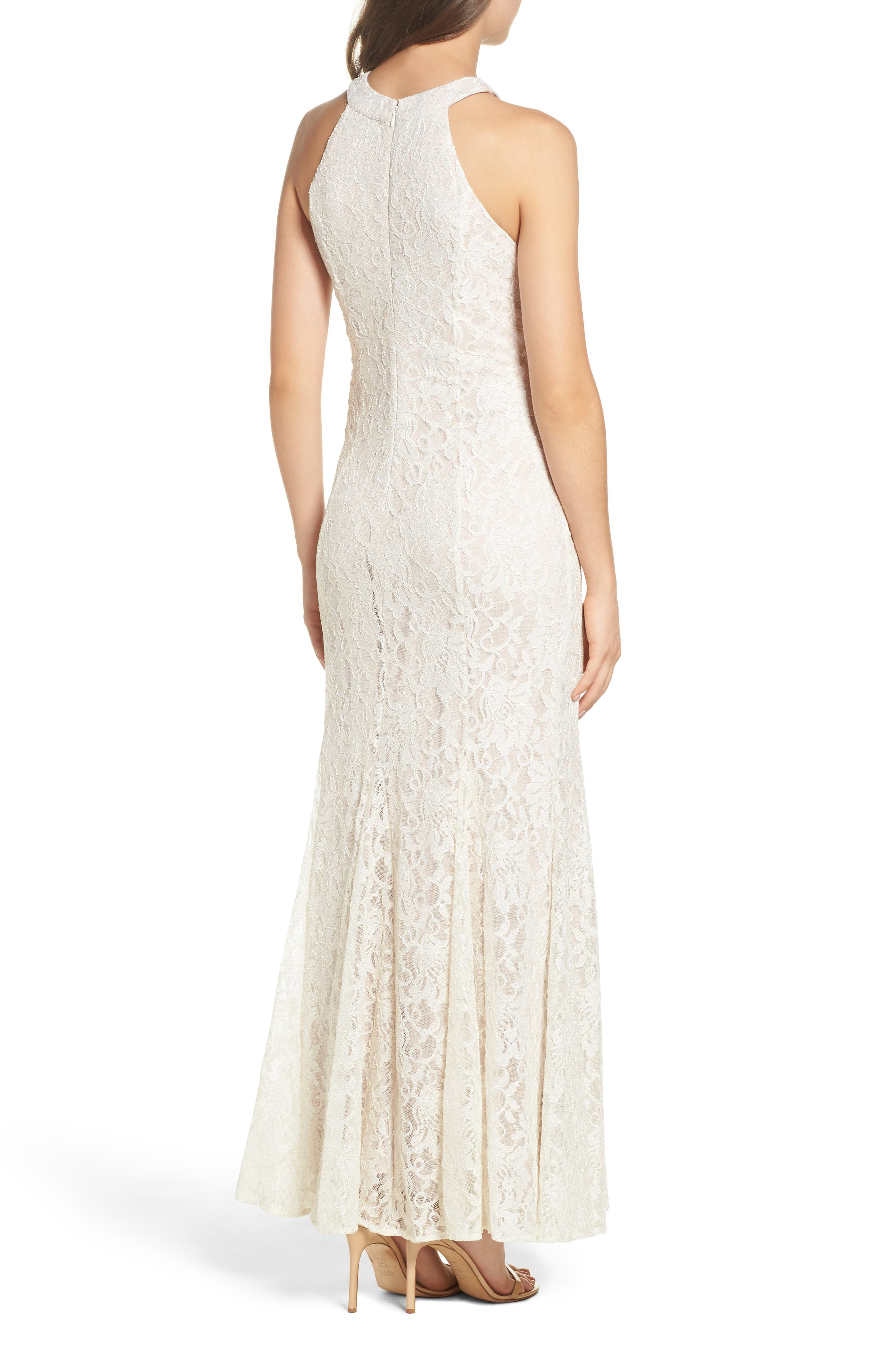 Scallop Detail Lace Gown,                             Alternate thumbnail 2, color,                             Ivory/ Nude