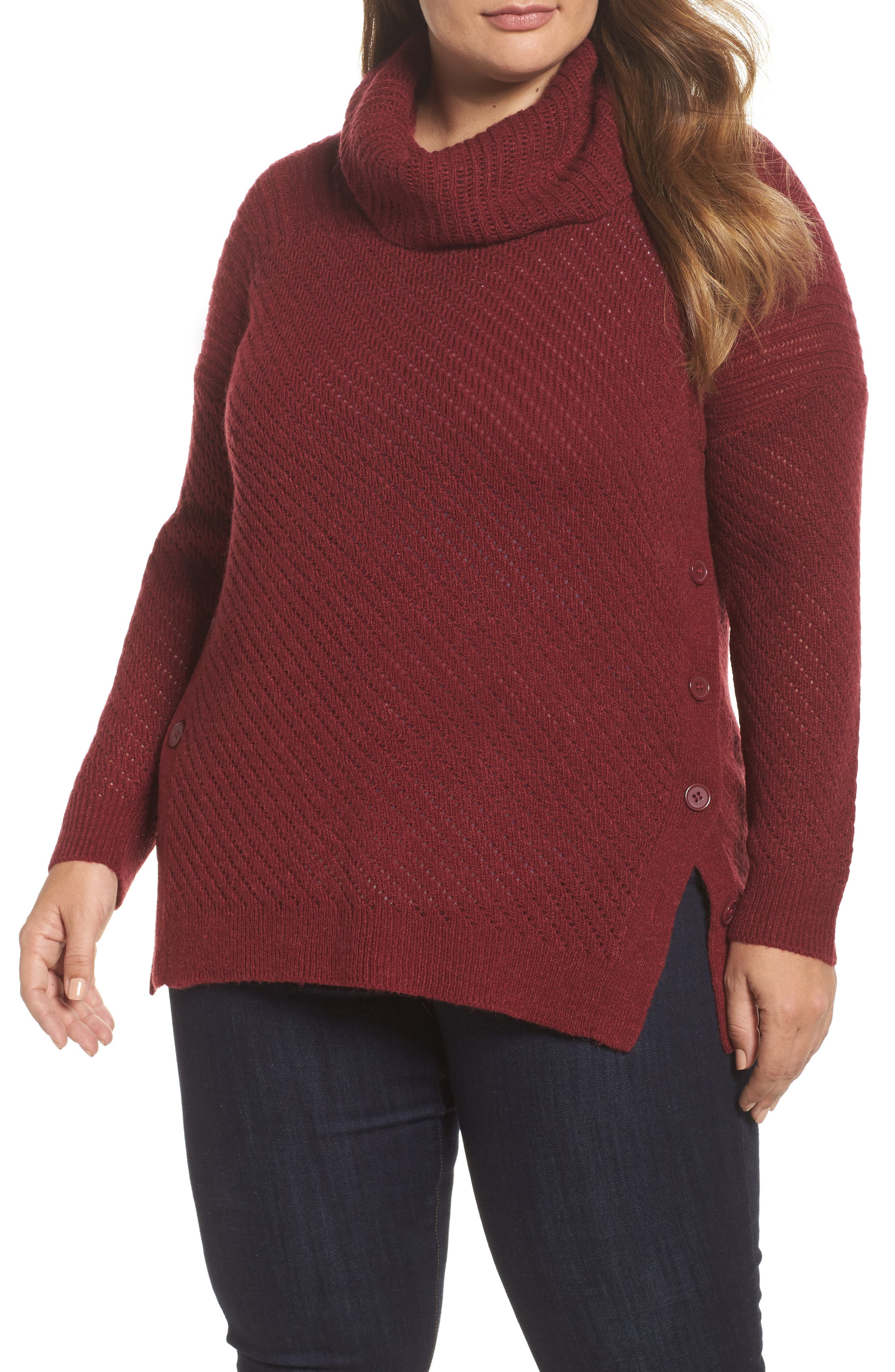 Button Side Sweater,                         Main,                         color, Rust