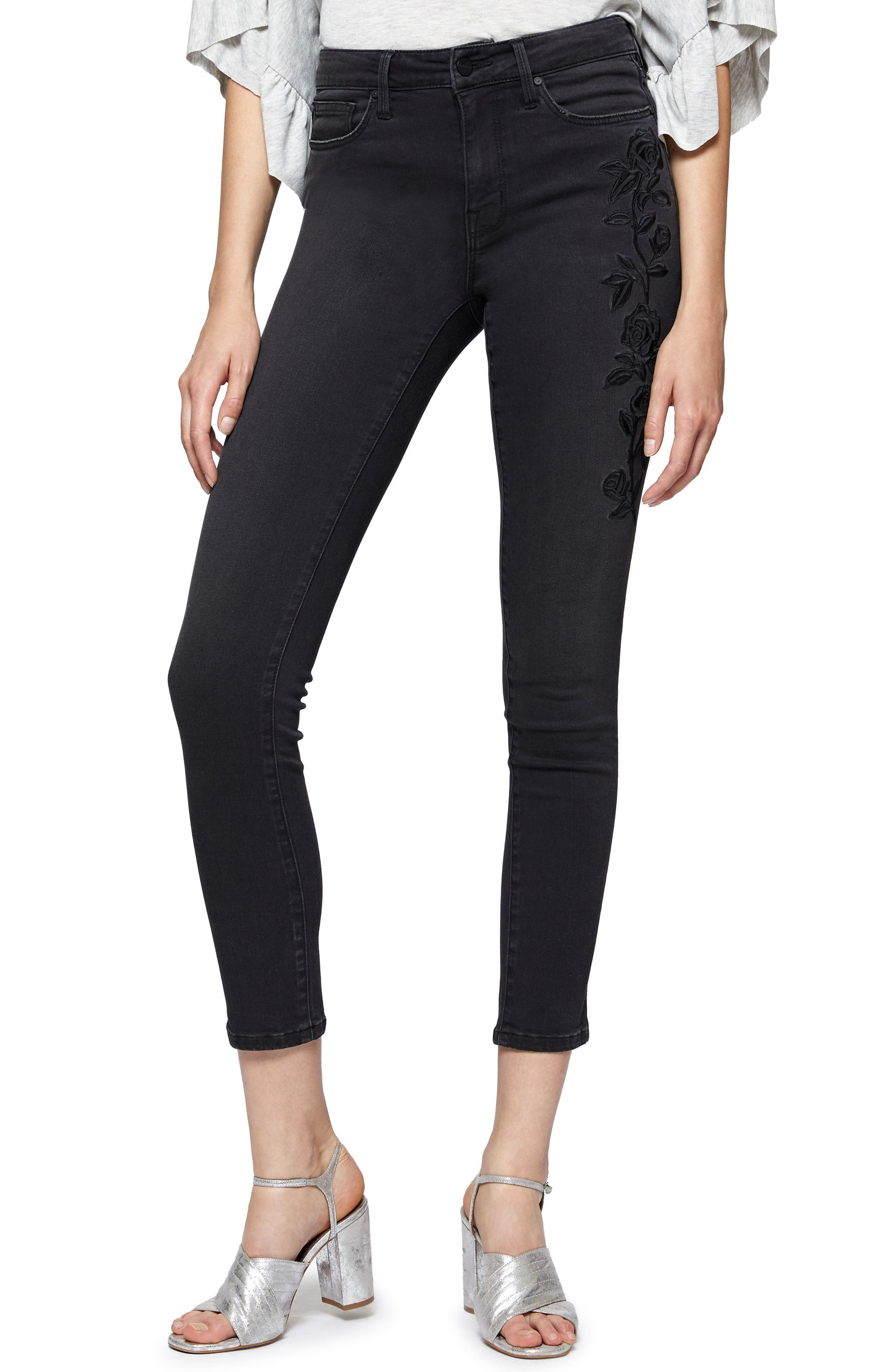 Robbie Flocked Rose Embroidered Skinny Jeans,                             Main thumbnail 1, color,                             Maribel