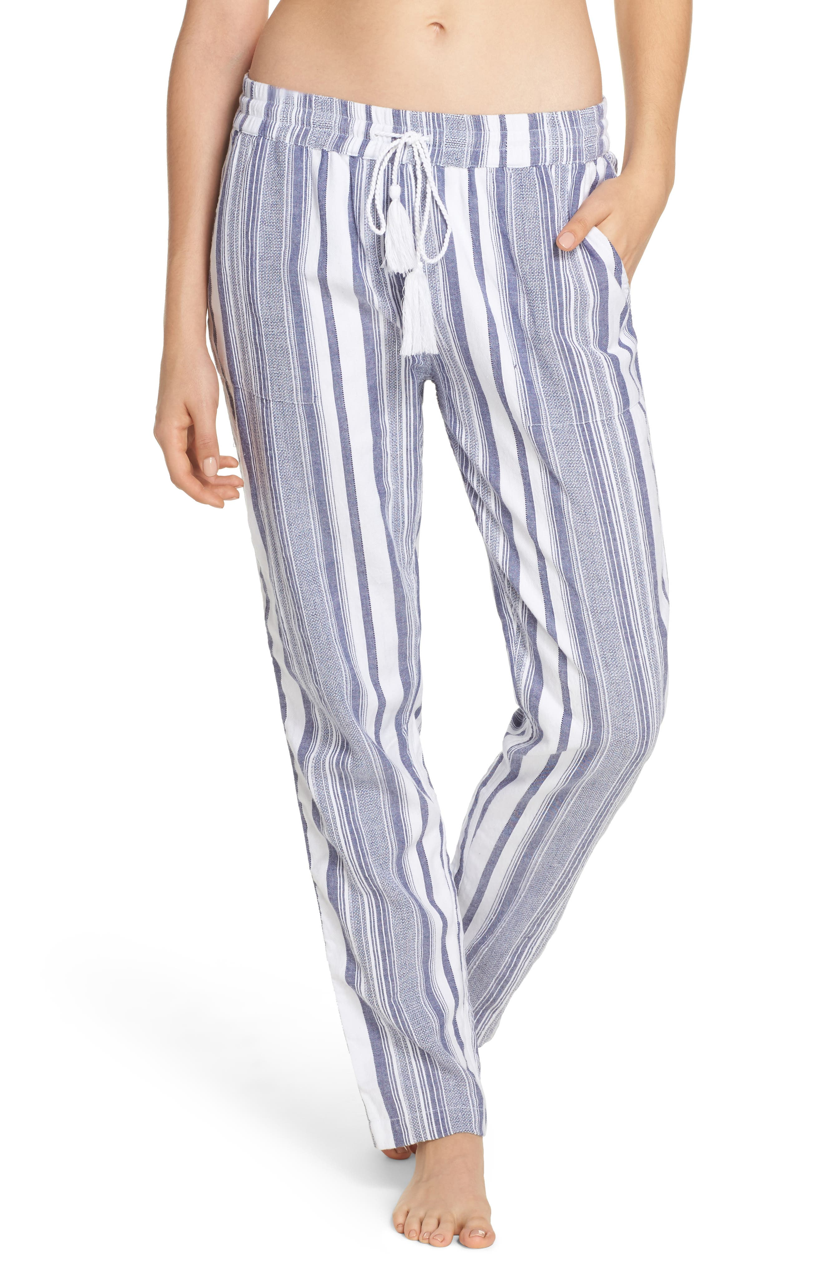 Stripe Beach Cover-Up Jogger Pants,                         Main,                         color, White
