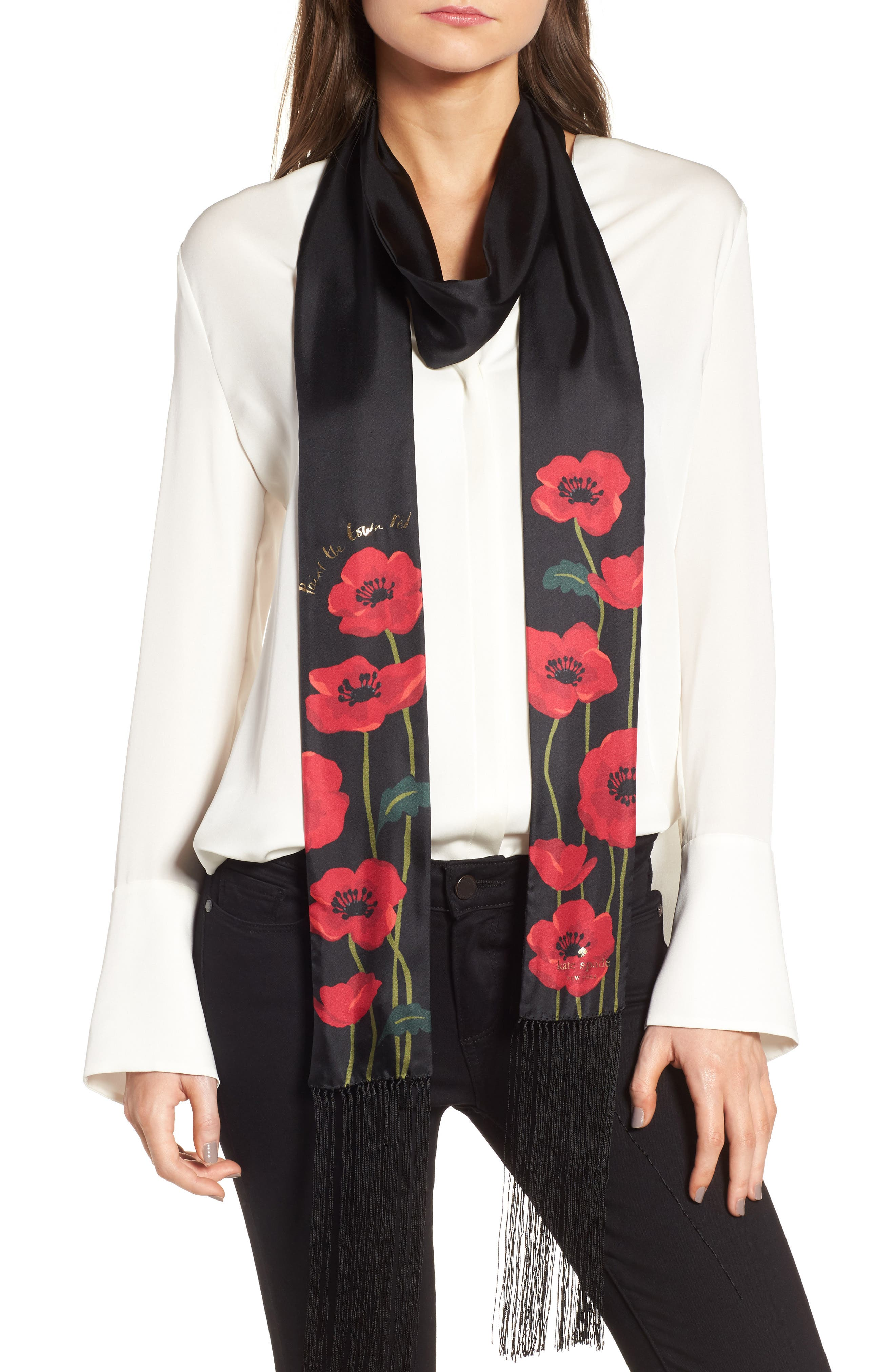 growing poppies long skinny silk scarf,                             Main thumbnail 1, color,                             Black