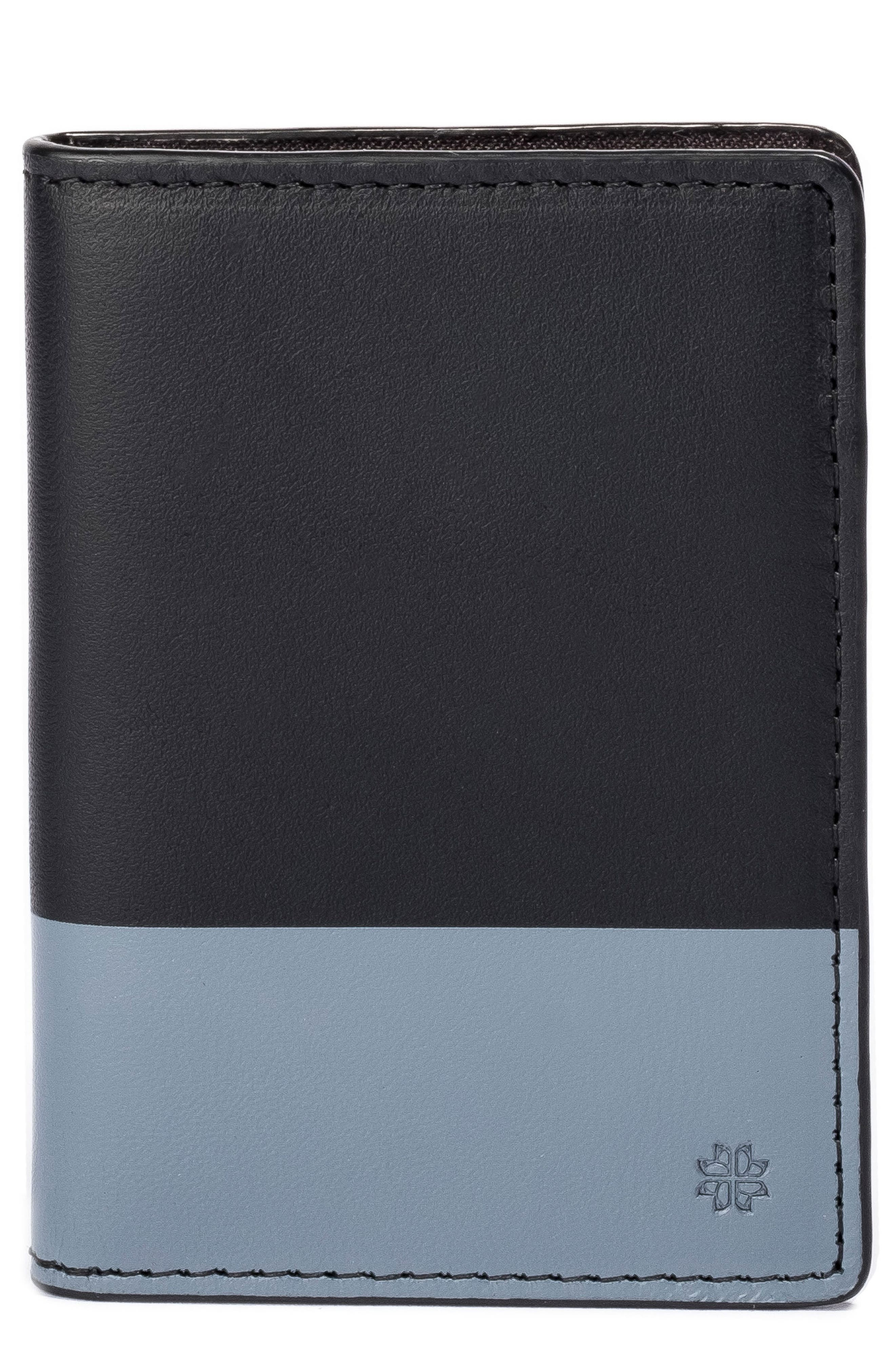 Leather Wallet,                         Main,                         color, Grey