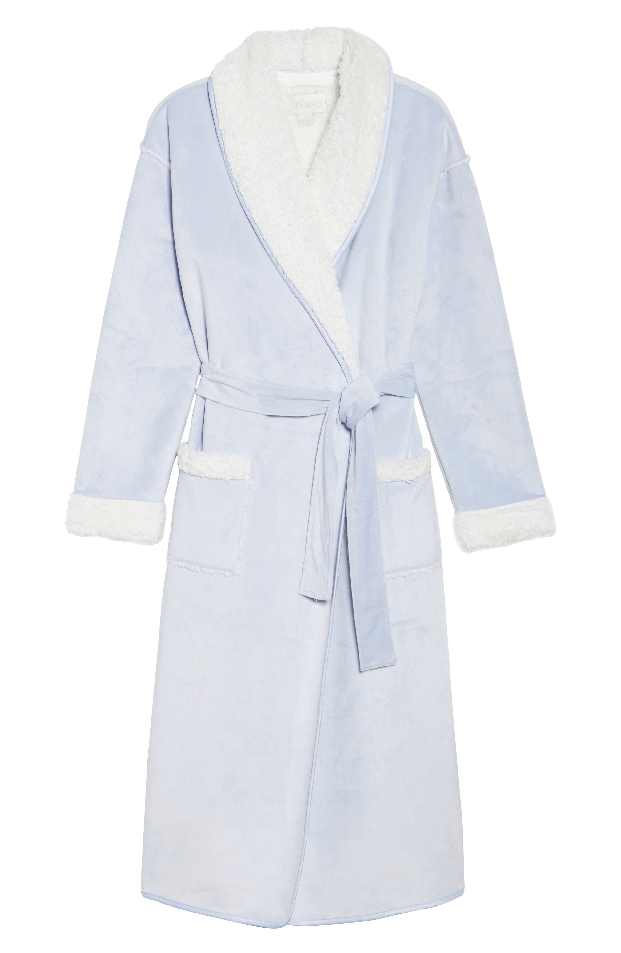 Wintertide Plush Robe,                             Alternate thumbnail 4, color,                             Blue Xenon