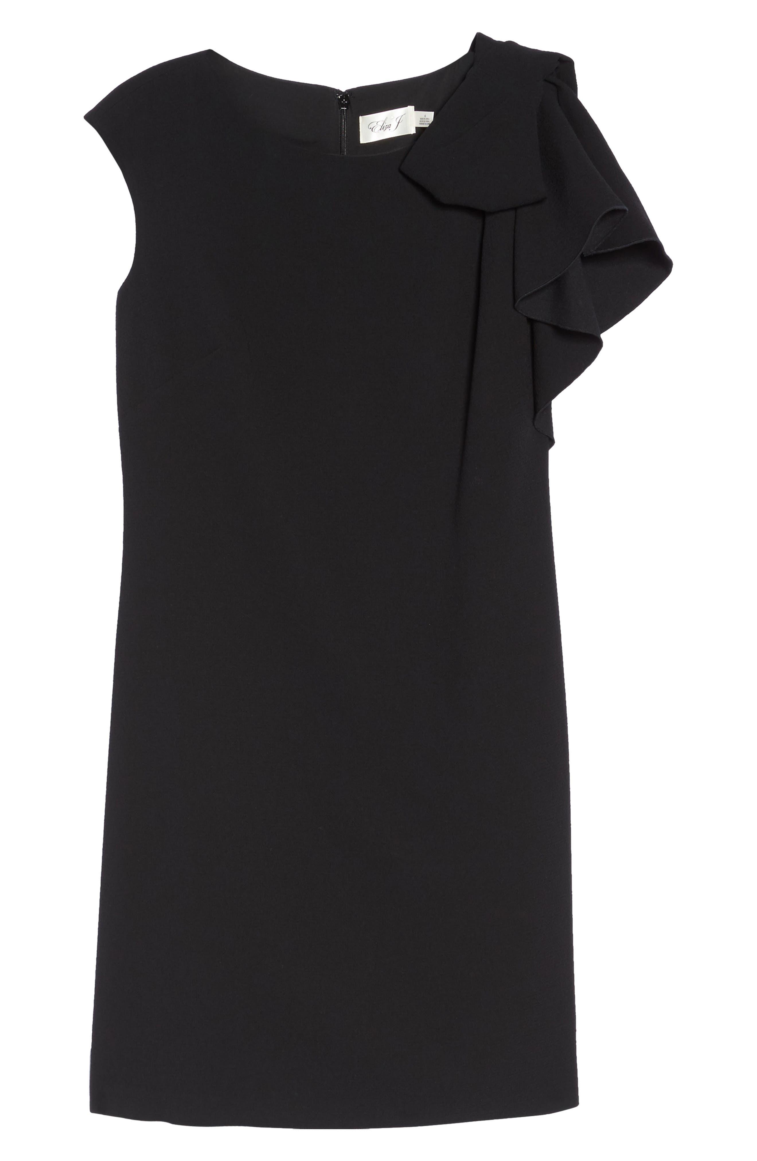 Ruffle Sleeve Shift Dress,                             Alternate thumbnail 6, color,                             Black