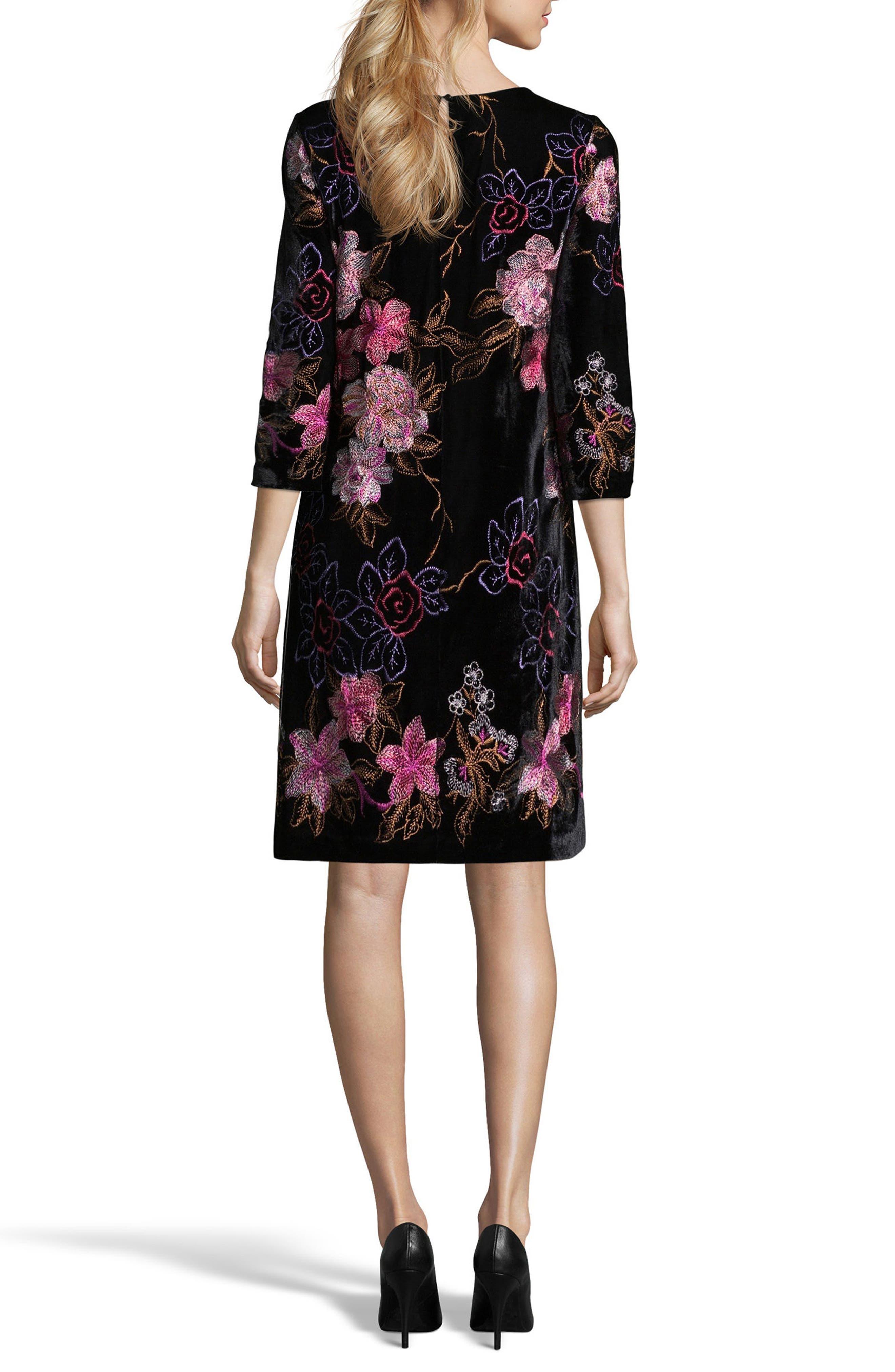 Alternate Image 2  - ECI Embroidered Velvet Shift Dress