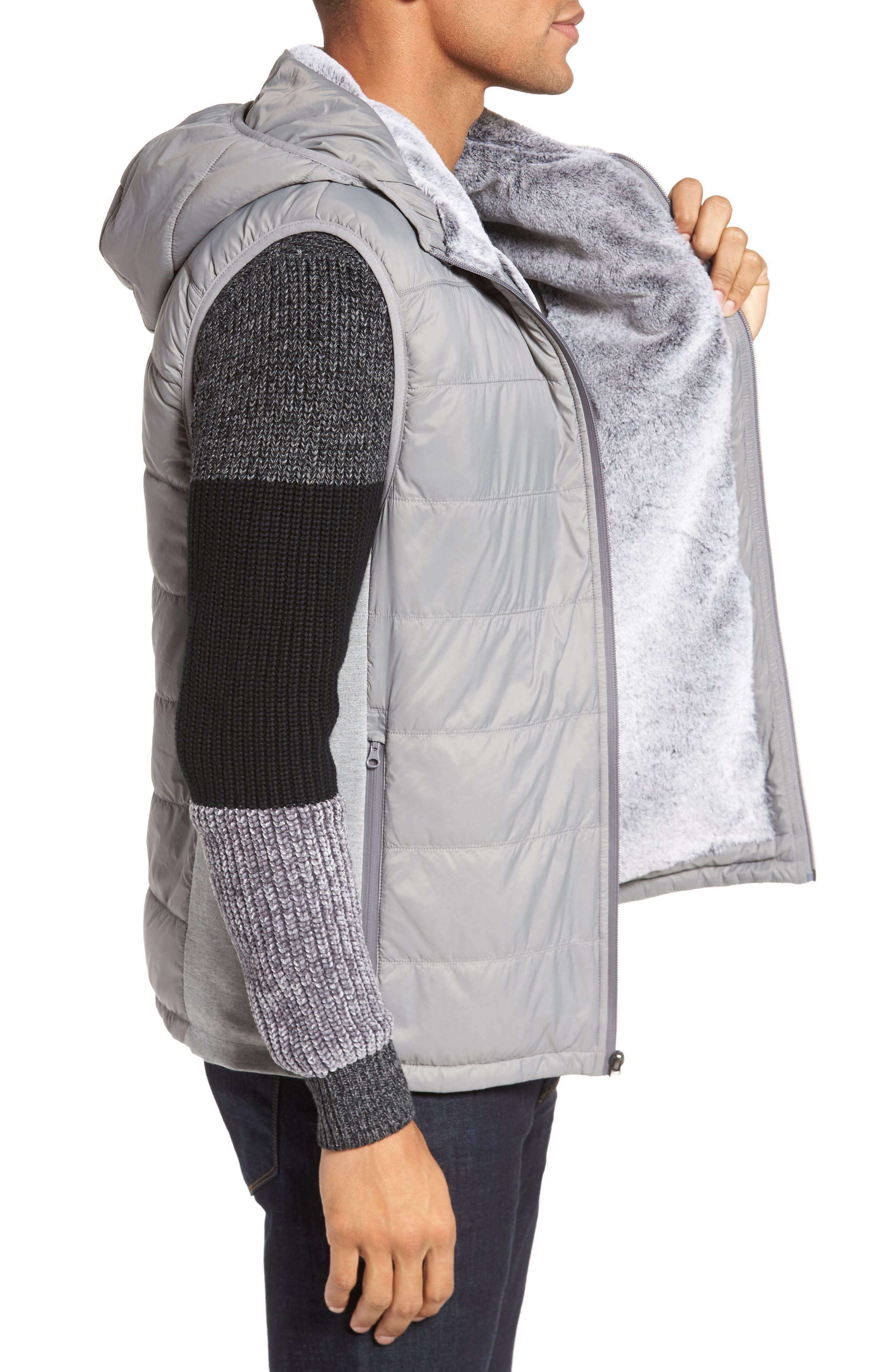 Hooded Vest,                             Alternate thumbnail 3, color,                             Silver