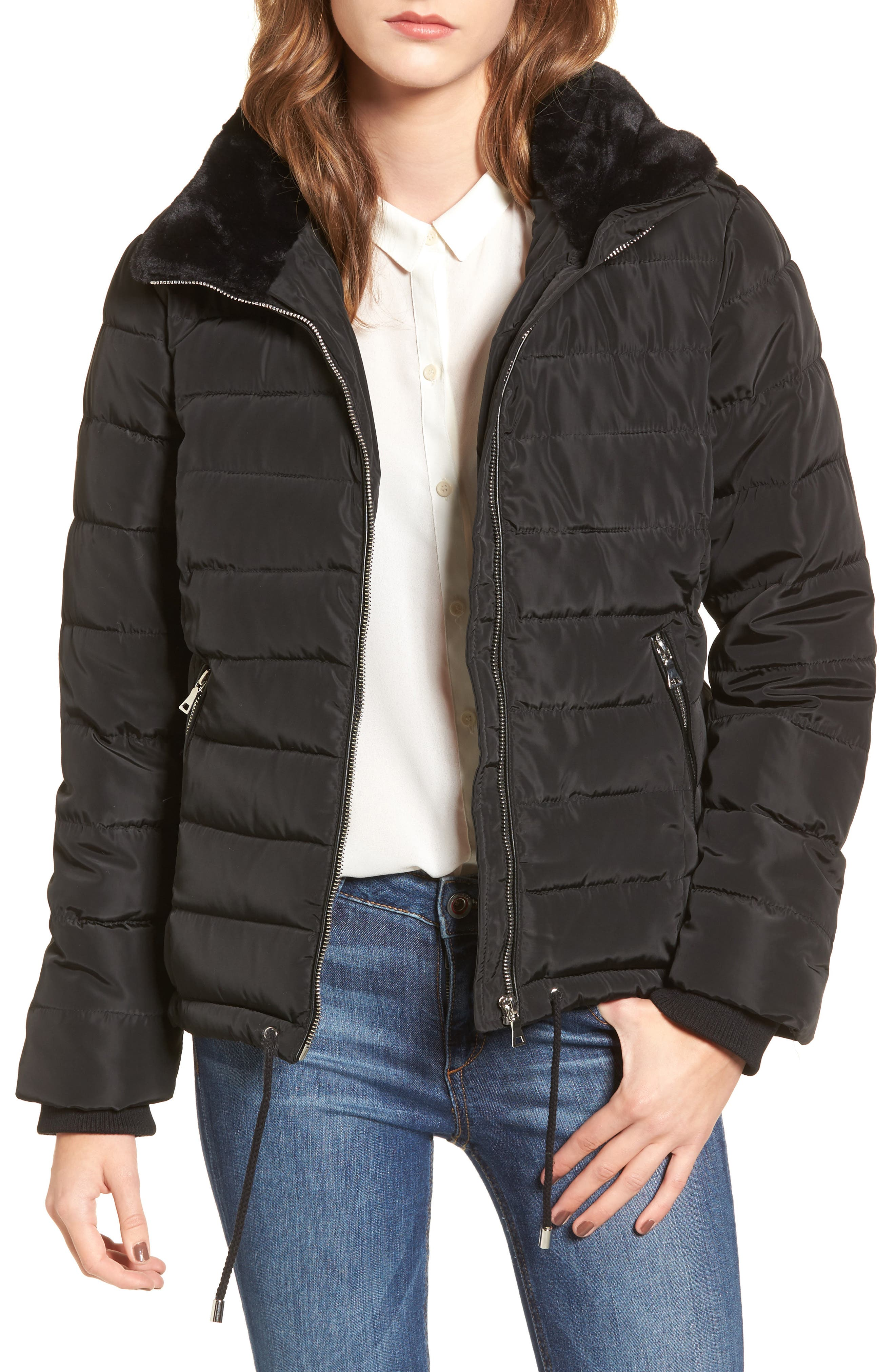 Puffer Jacket with Faux Fur,                             Main thumbnail 1, color,                             Black