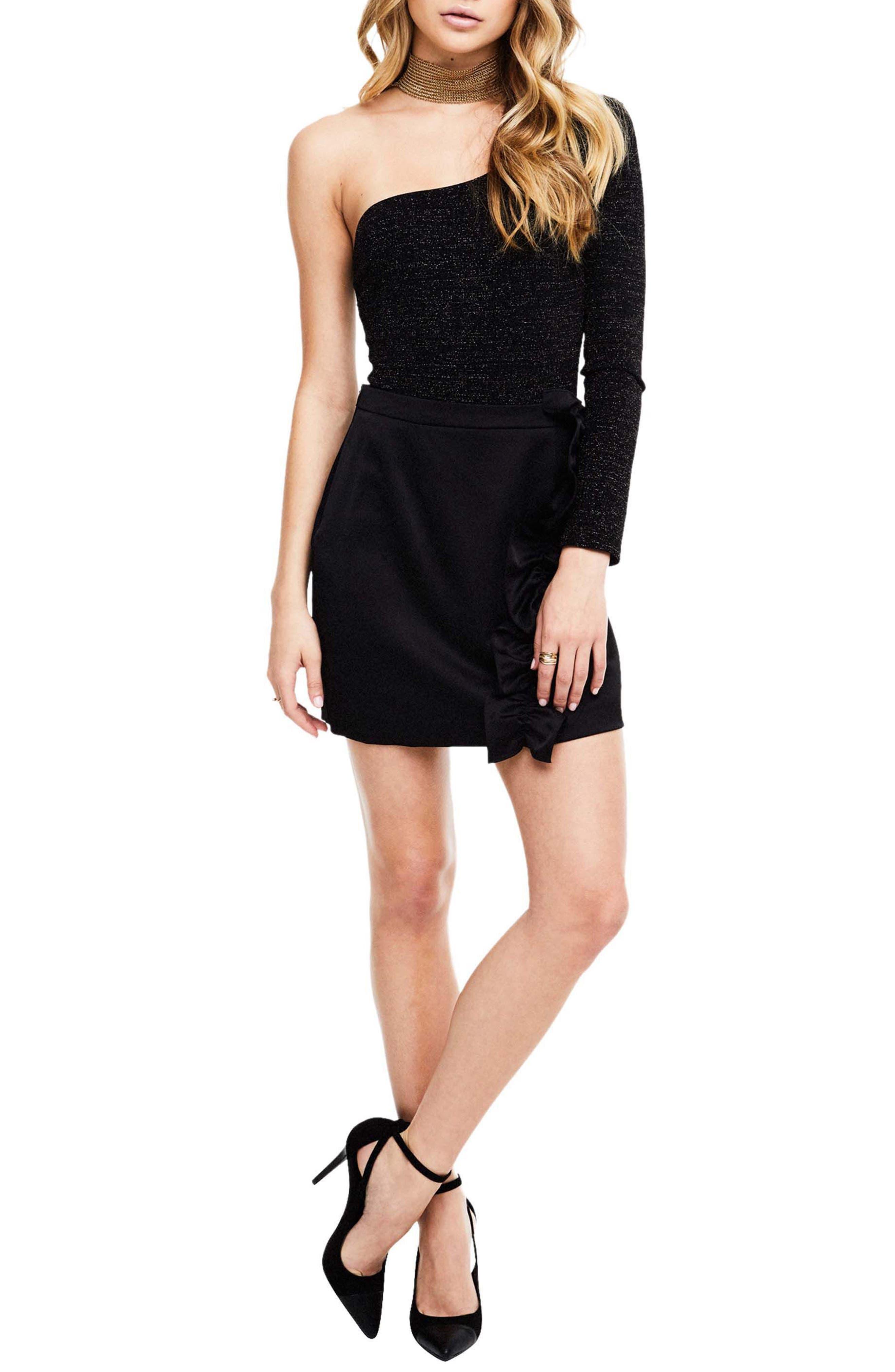 Isa Satin Skirt,                         Main,                         color, Black