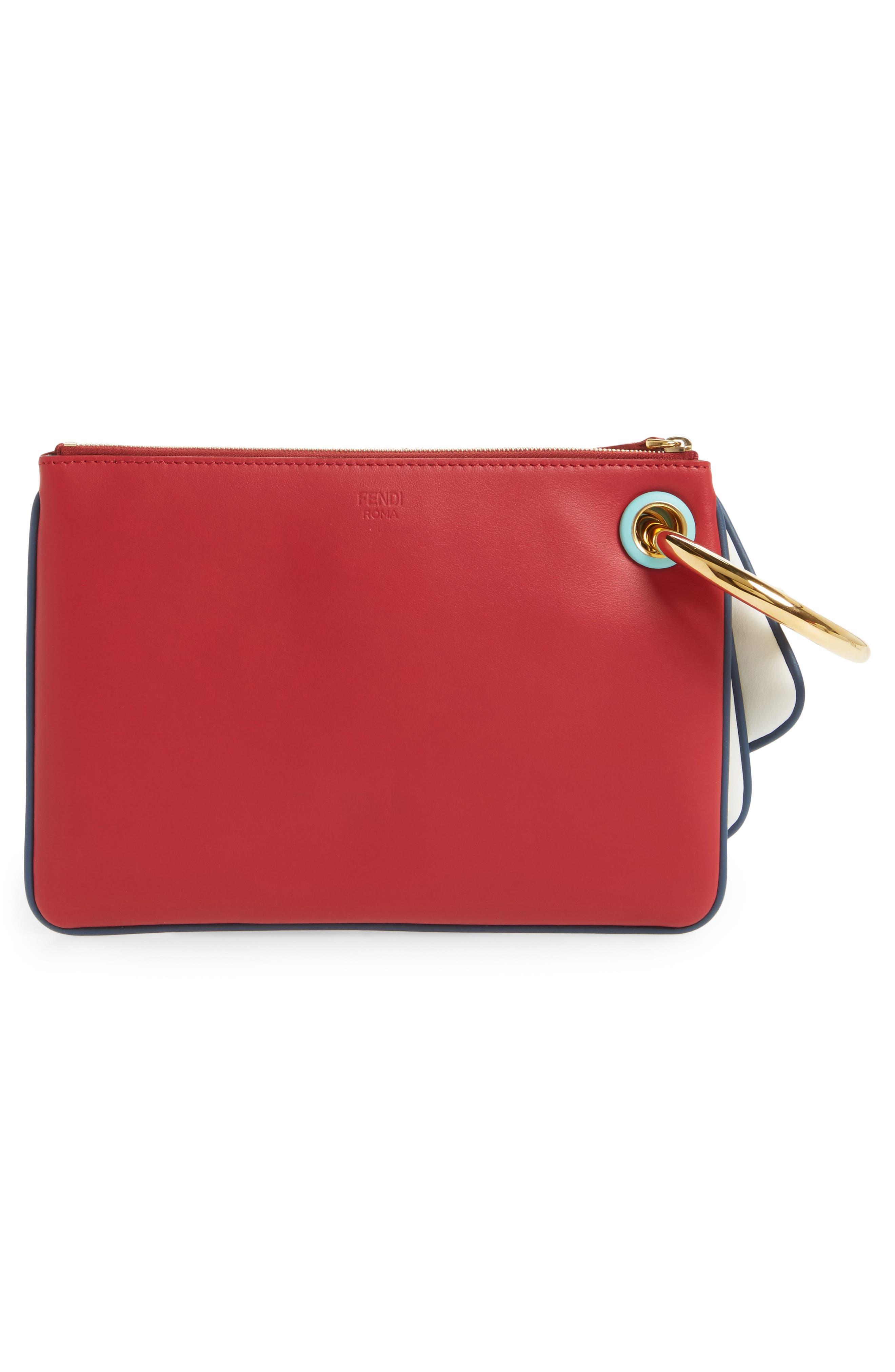 Set of Three Calfskin Leather & Genuine Python Pouches,                             Alternate thumbnail 2, color,                             Red/ White/ Python