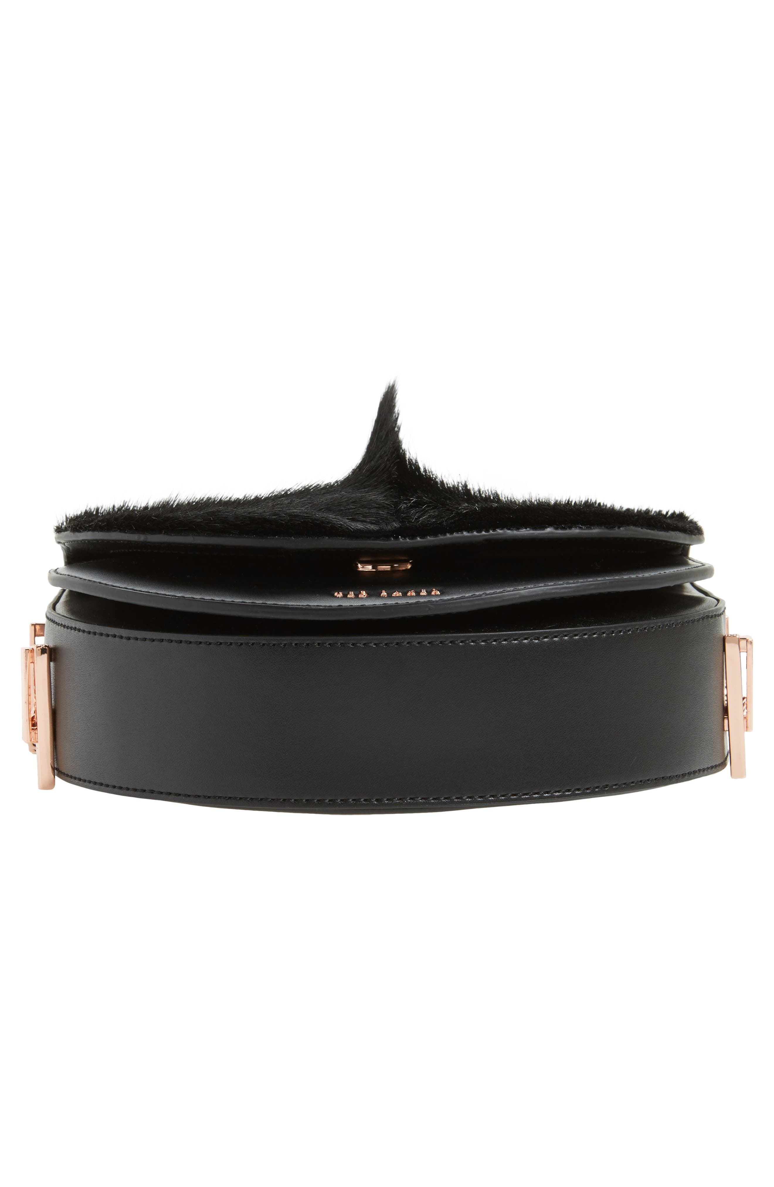 Alisonn Leather & Genuine Springbok Fur Saddle Bag,                             Alternate thumbnail 6, color,                             Black