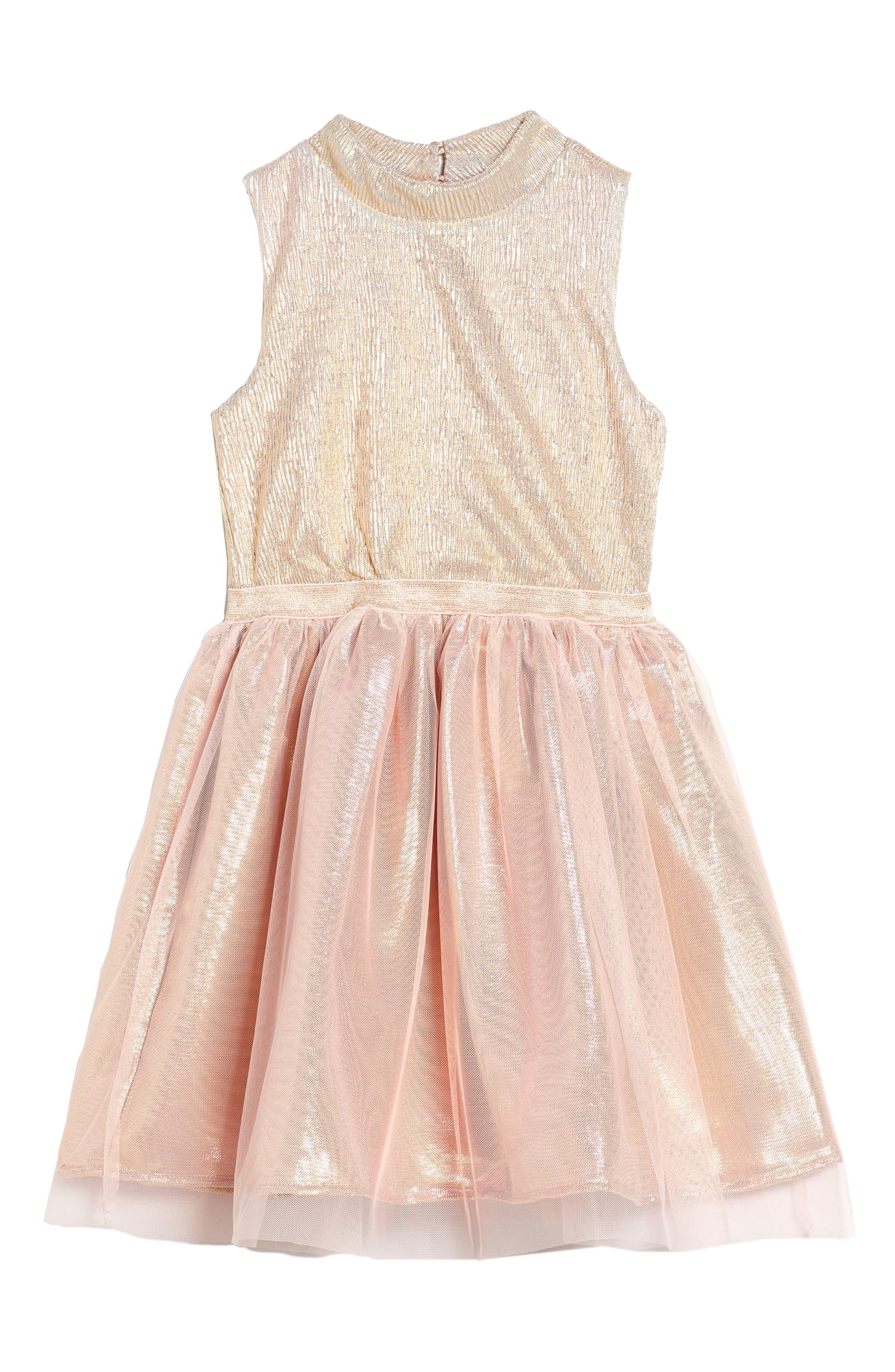 Main Image - Zunie Metallic Shimmer Mock Neck Dress (Big Girls)