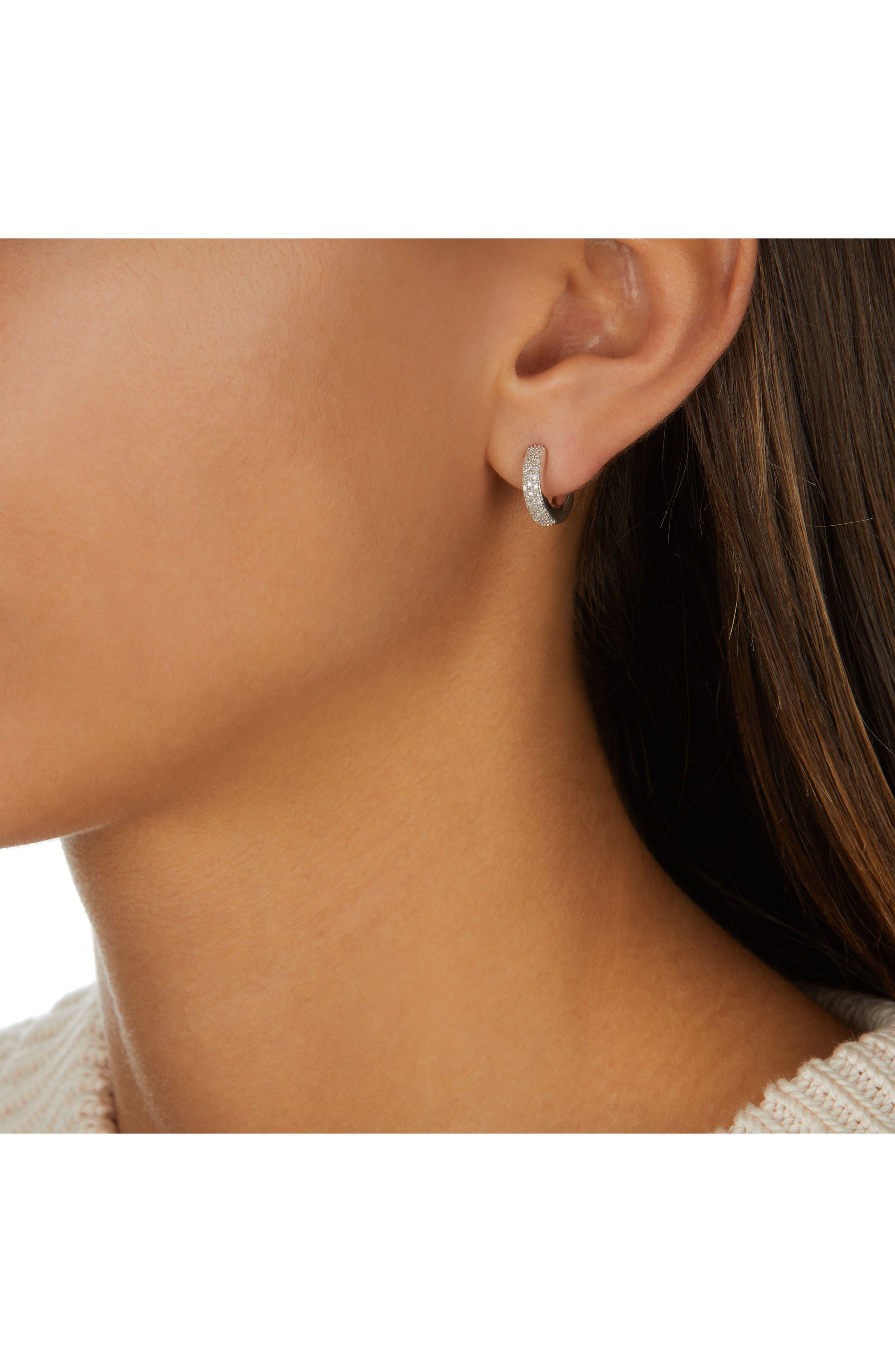 Fiji Mini Diamond Hoop Earrings,                             Alternate thumbnail 3, color,                             Silver