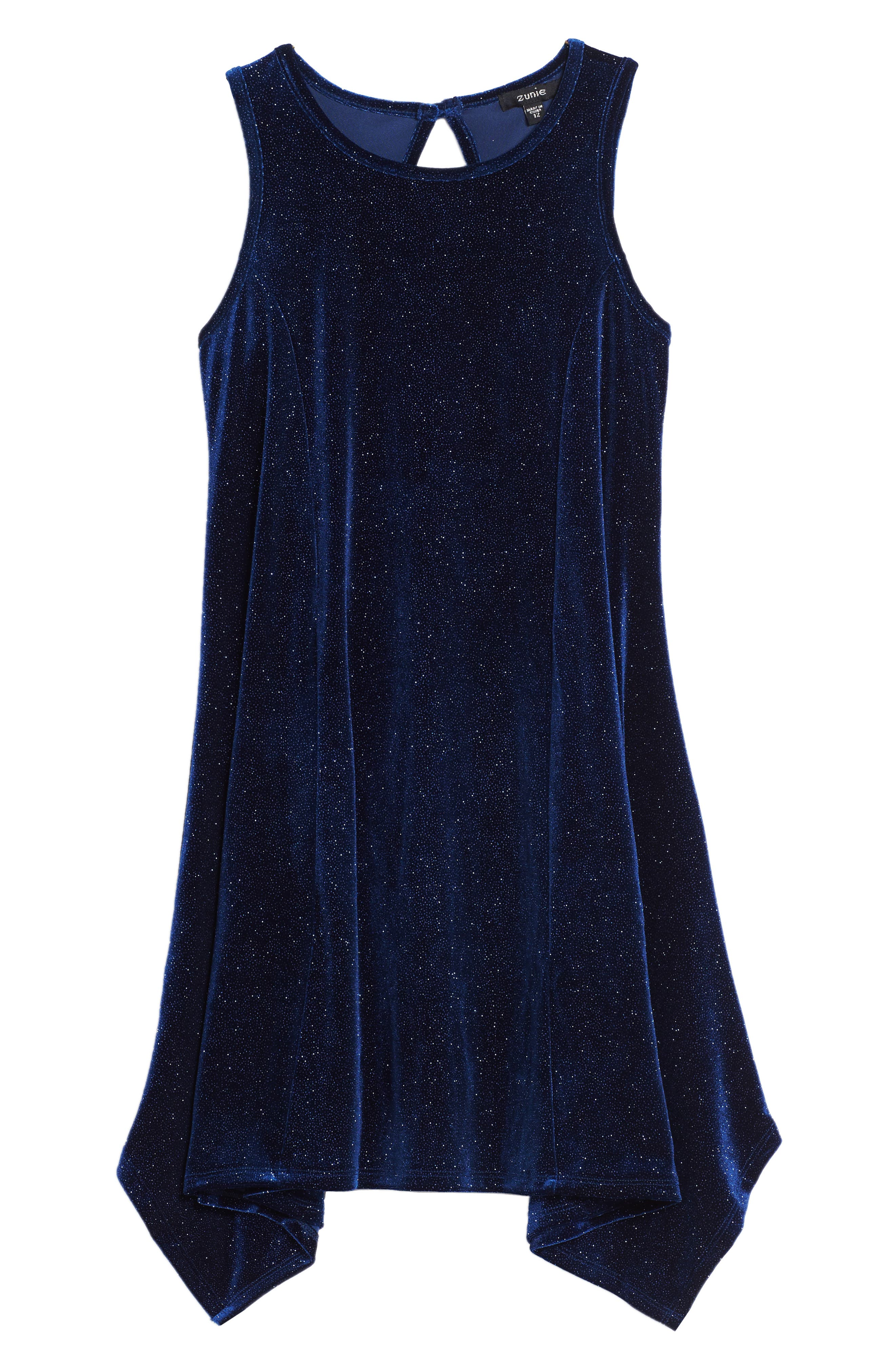 Main Image - Zunie Shimmer Sharkbite Dress (Big Girls)
