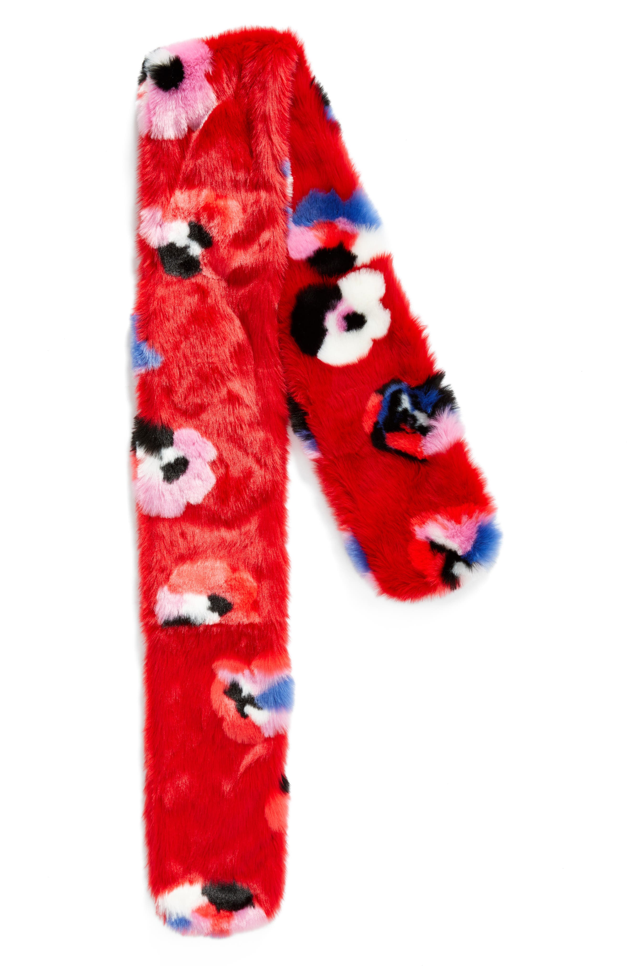 Floral Faux Fur Stole,                             Alternate thumbnail 2, color,                             Red Floral