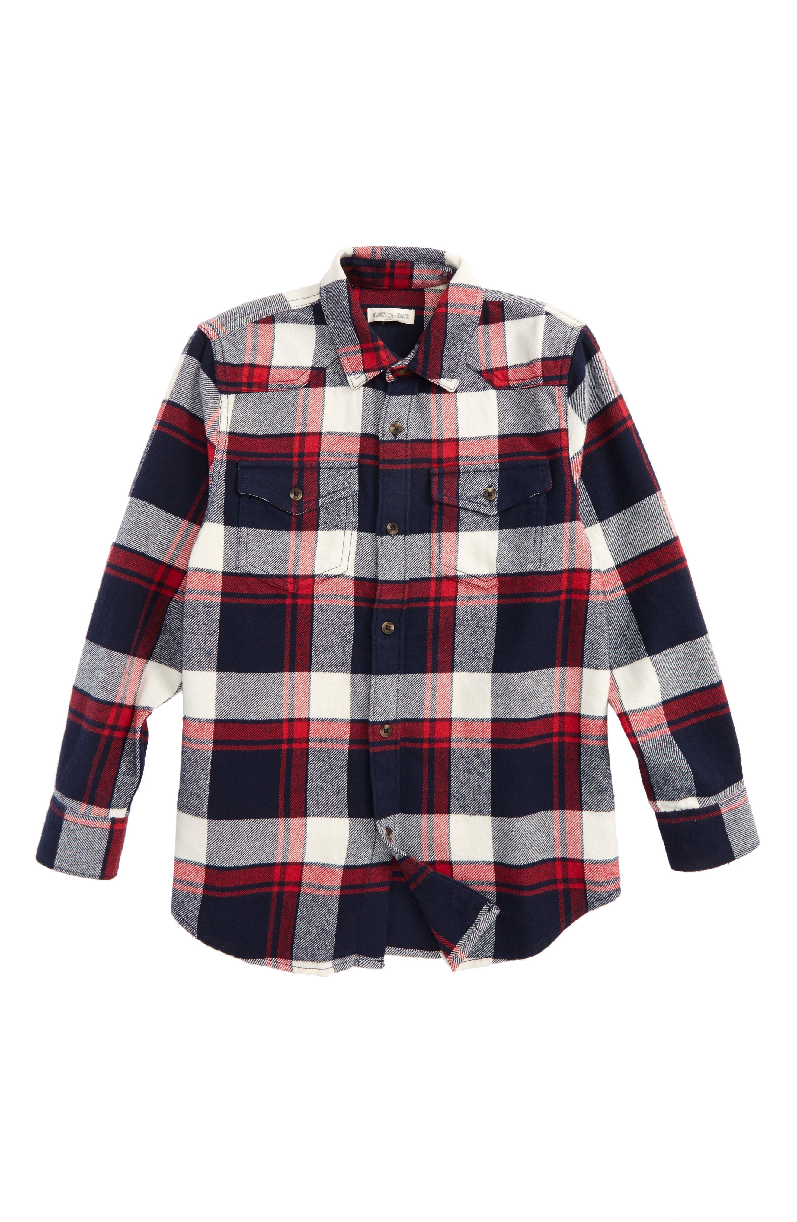 Plaid Flannel Shirt,                         Main,                         color, Red Chili- Navy Plaid