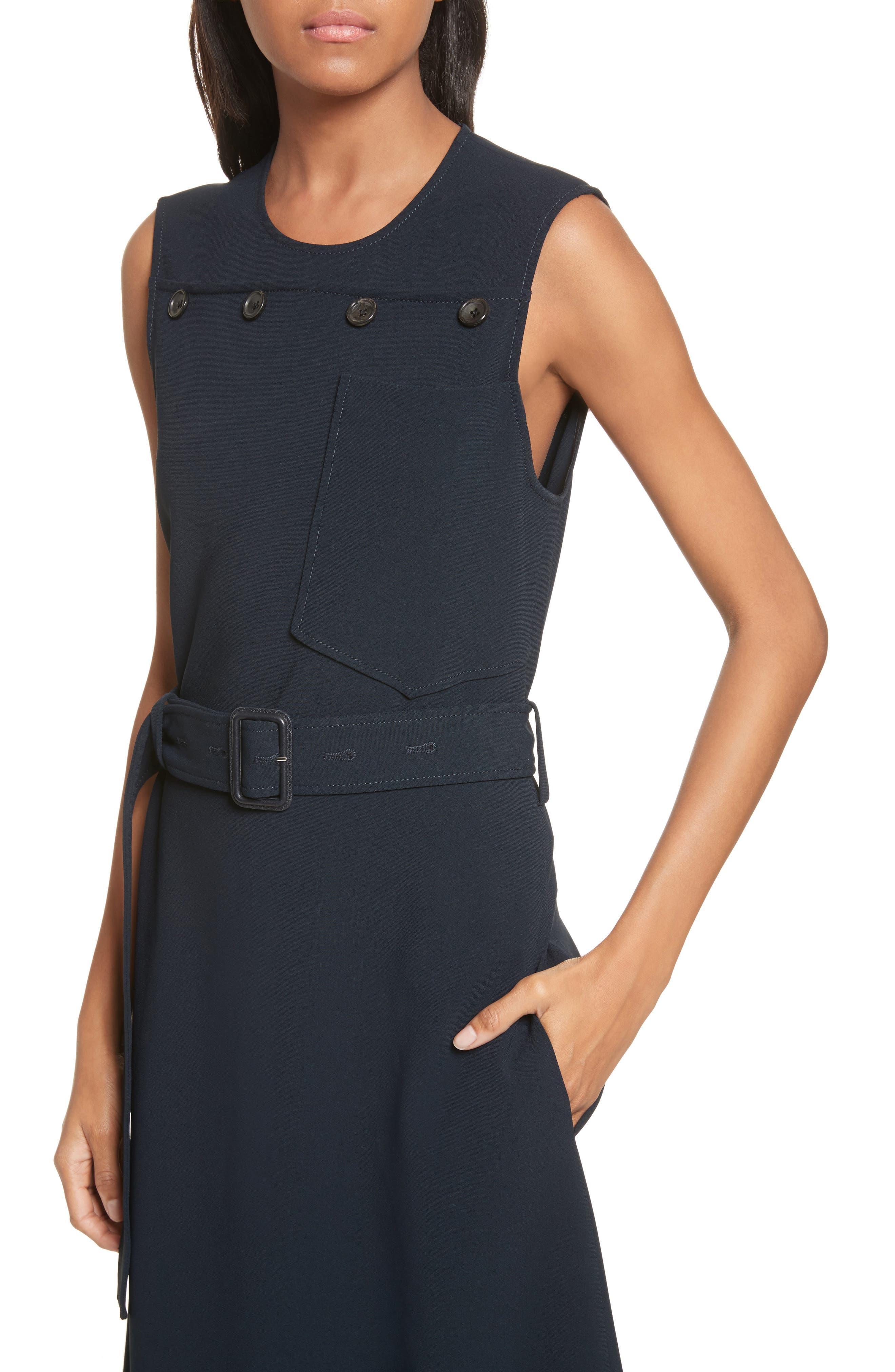 Tessa Heavy Viscose Dress,                             Alternate thumbnail 4, color,                             Navy