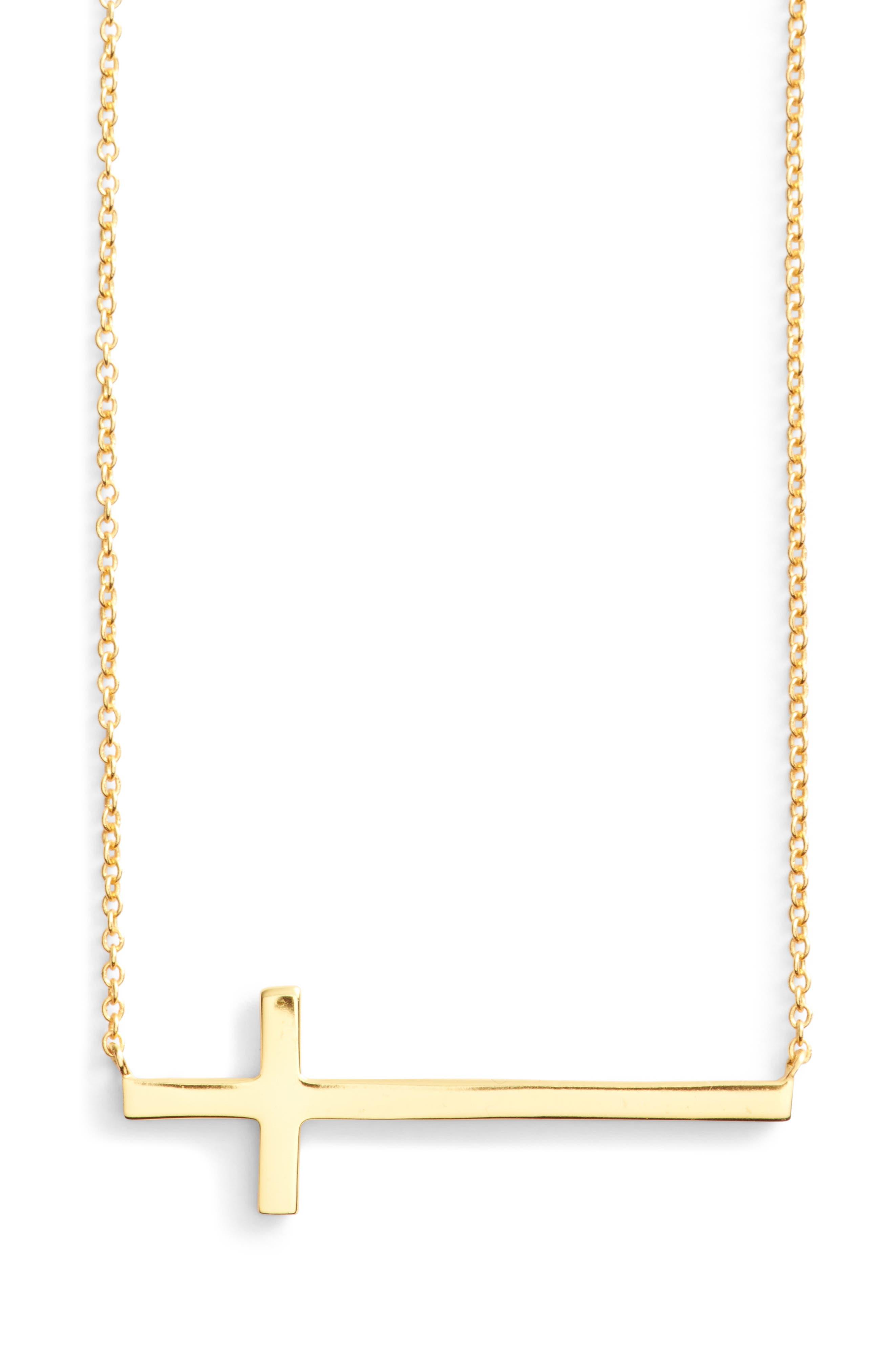 Modern Sideways Cross Pendant Necklace,                         Main,                         color, Gold