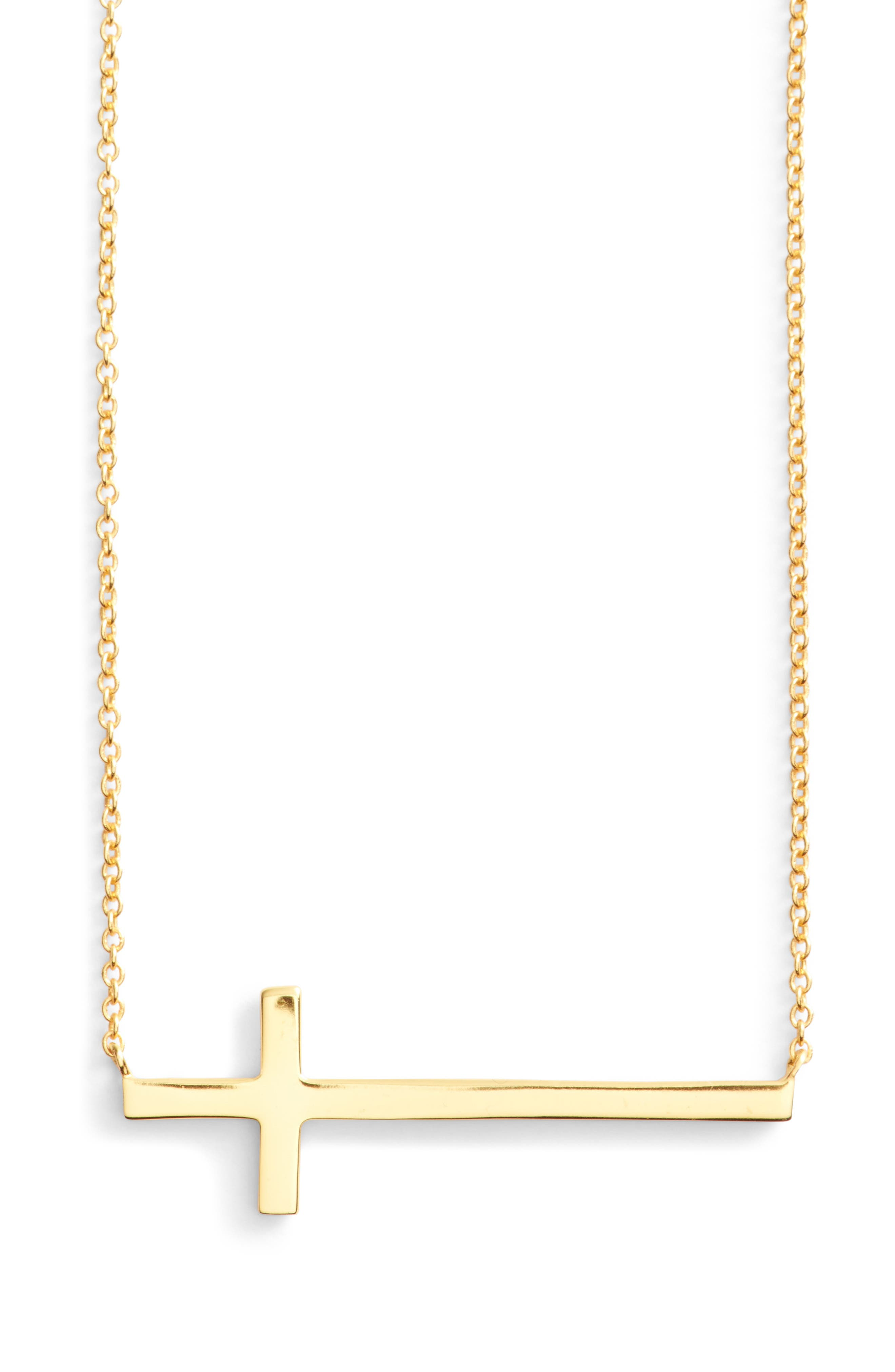 Argento Vivo Modern Sideways Cross Pendant Necklace