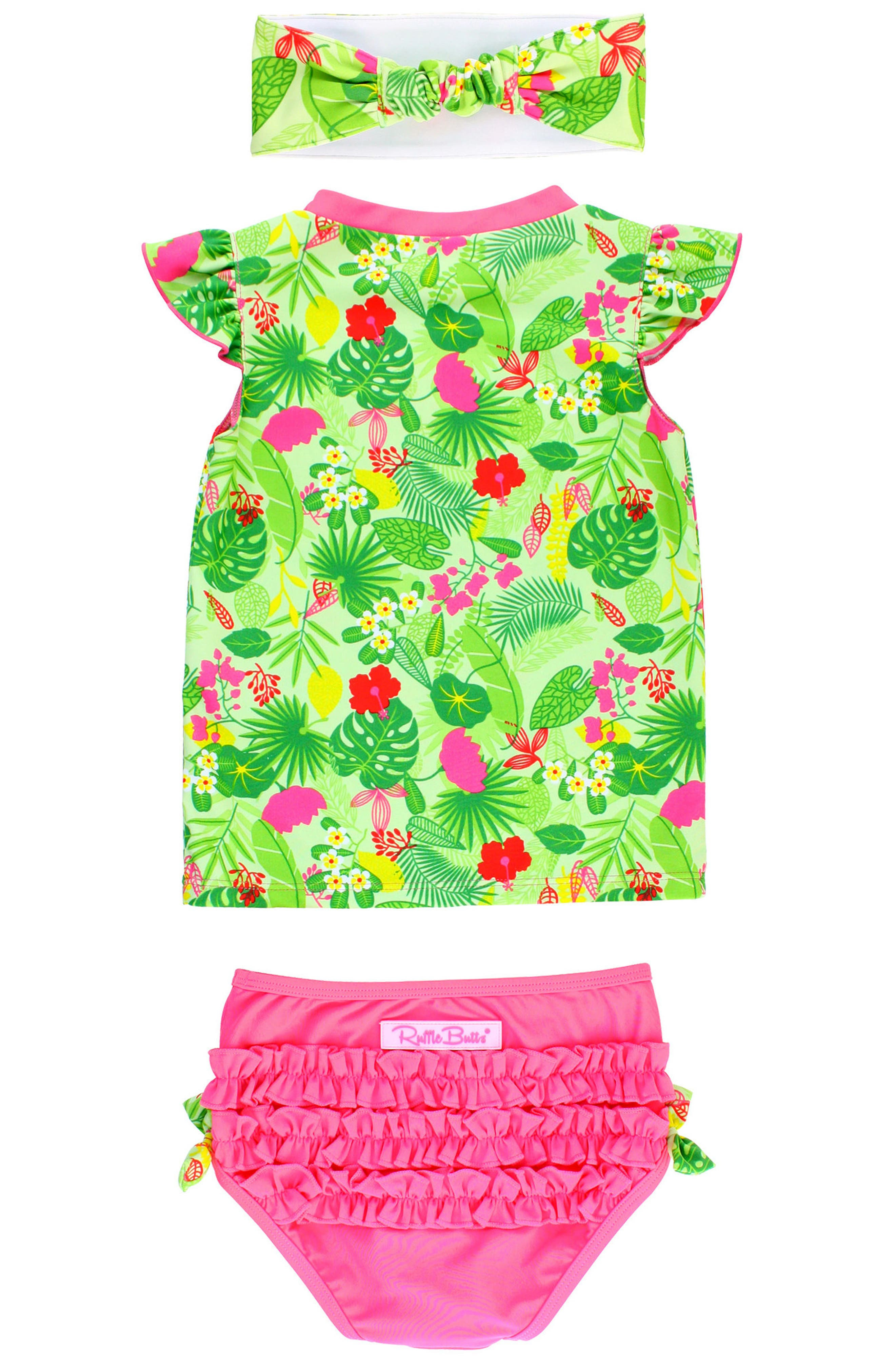 Tropical Two-Piece Rashguard Swimsuit & Headband Set,                             Alternate thumbnail 2, color,                             Green