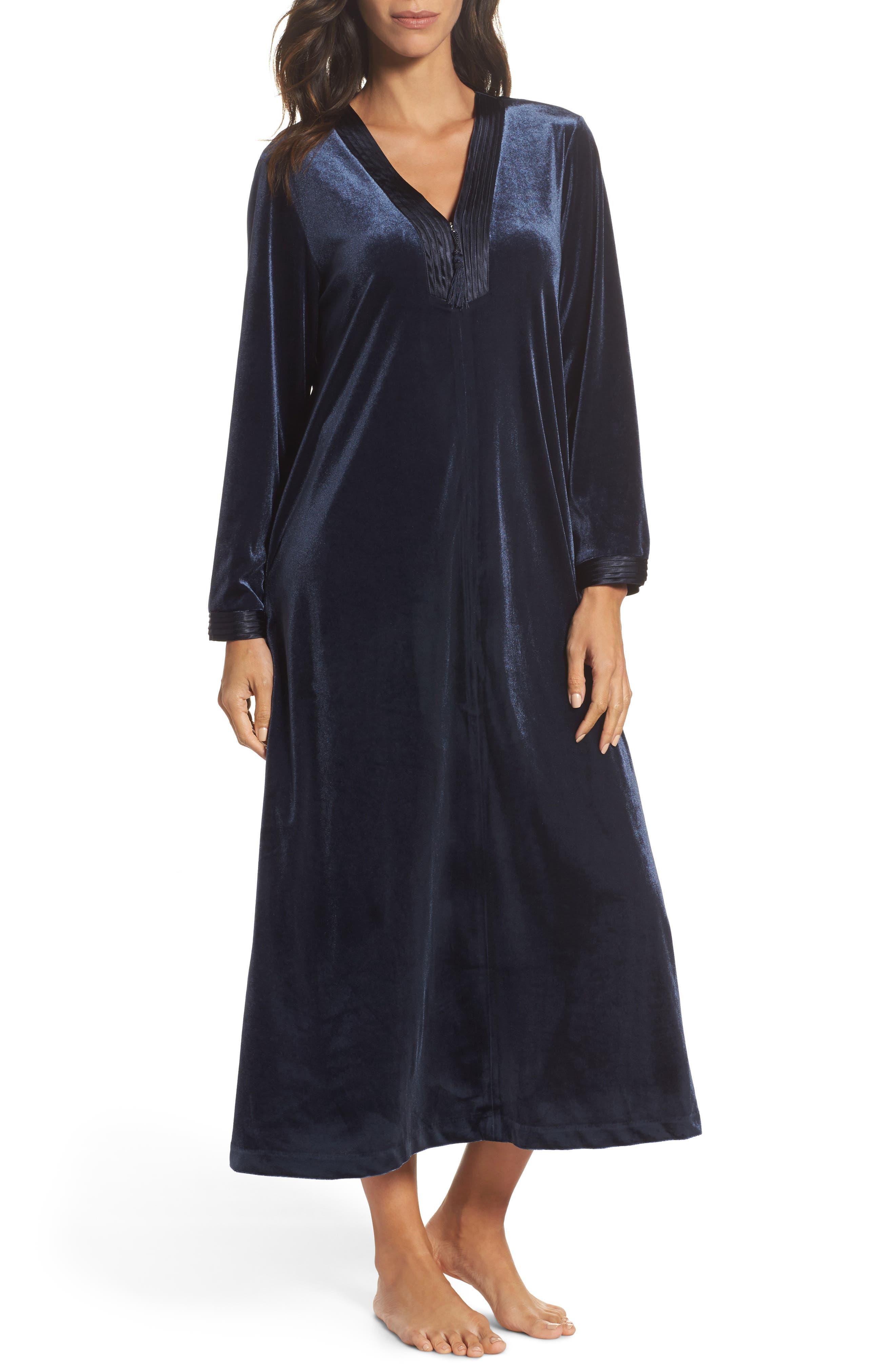 Sleepwear Velvet Caftan,                             Main thumbnail 1, color,                             Blue