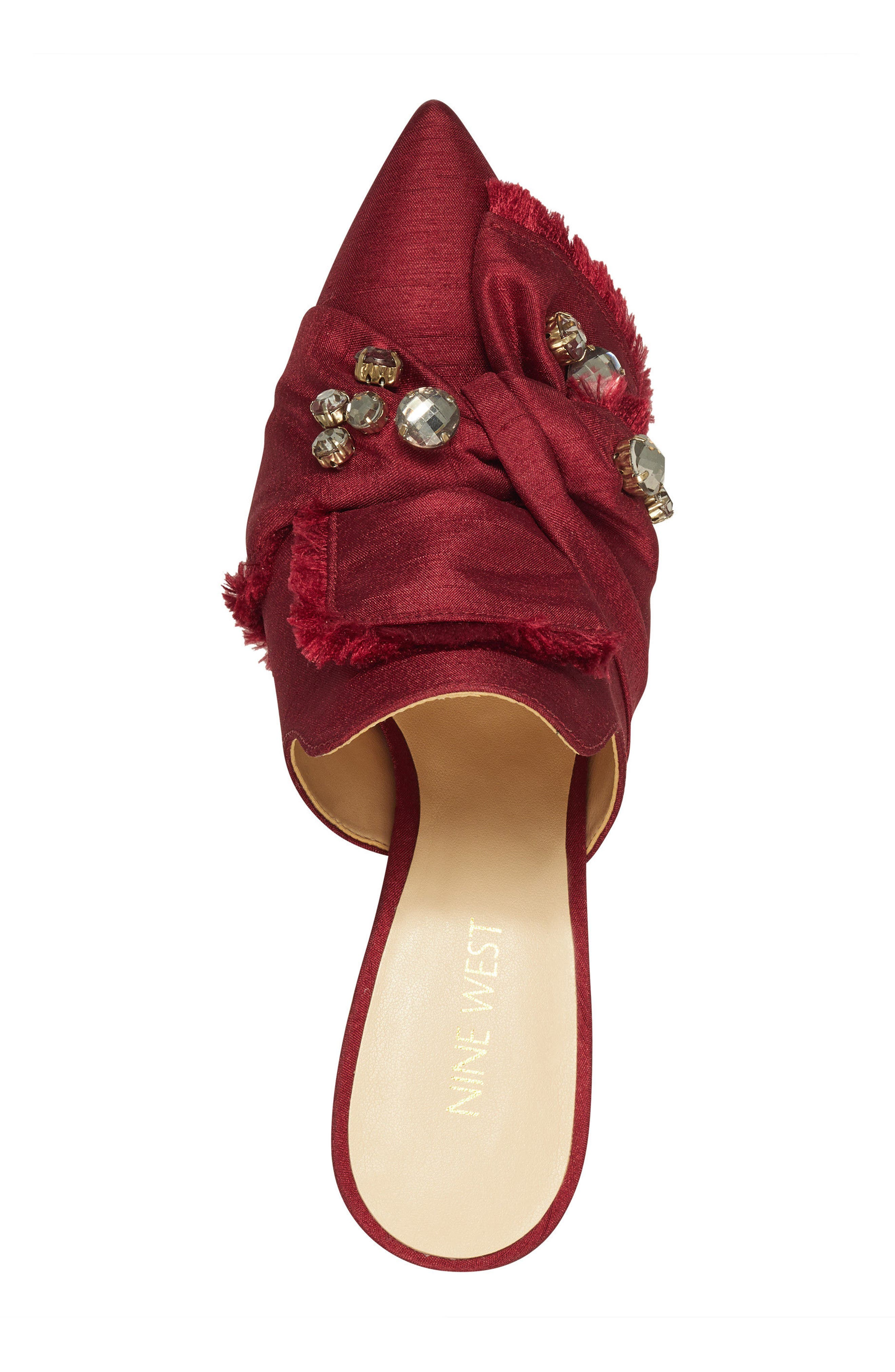 Macadamia Embellished Mule,                             Alternate thumbnail 5, color,                             Red Fabric